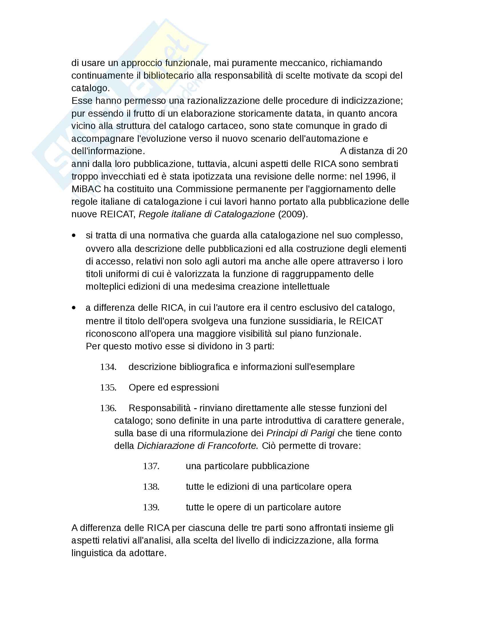 """Riassunto esame Biblioteconomia, prof. Salarelli, libro consigliato """"introduzione alla biblioteconomia"""" di Granata Pag. 76"""