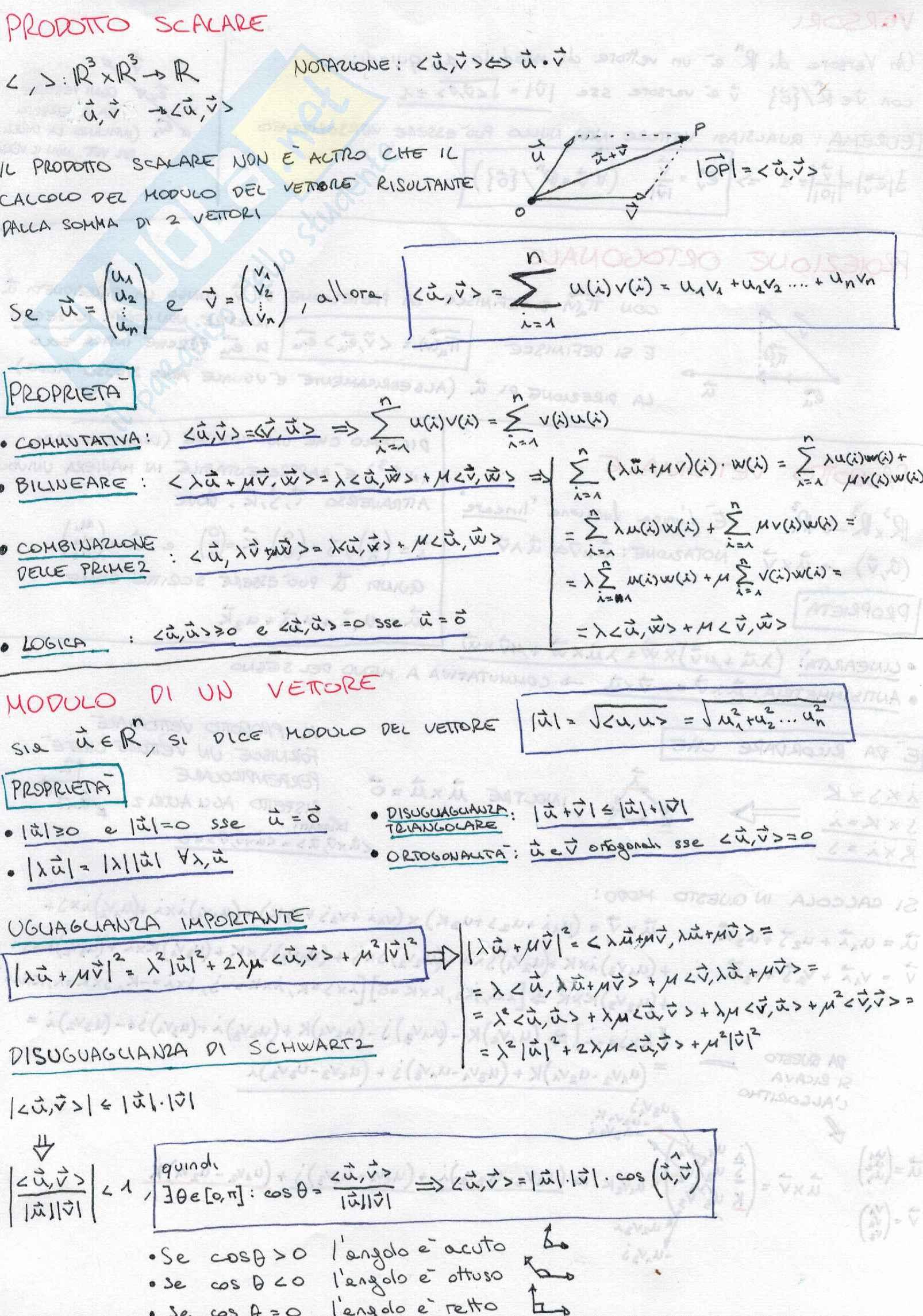 Geometria e Algebra Lineare (Appunti dettagliati)