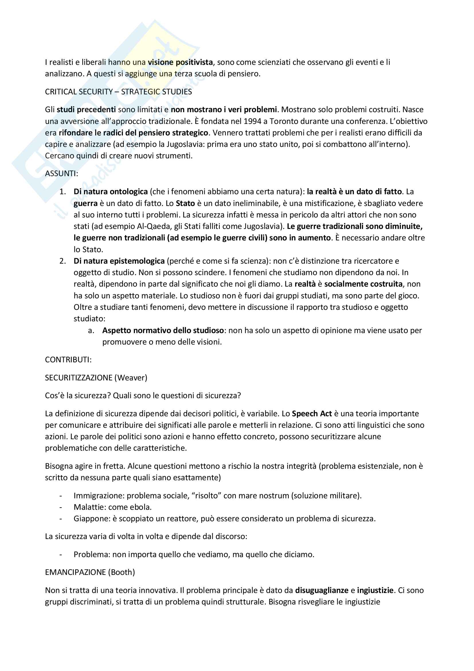 Riassunto esame Studi Strategici, prof Parsi V. E. e Locatelli R., libro consigliato Manuale di Studi Strategici di Giacomello Pag. 6