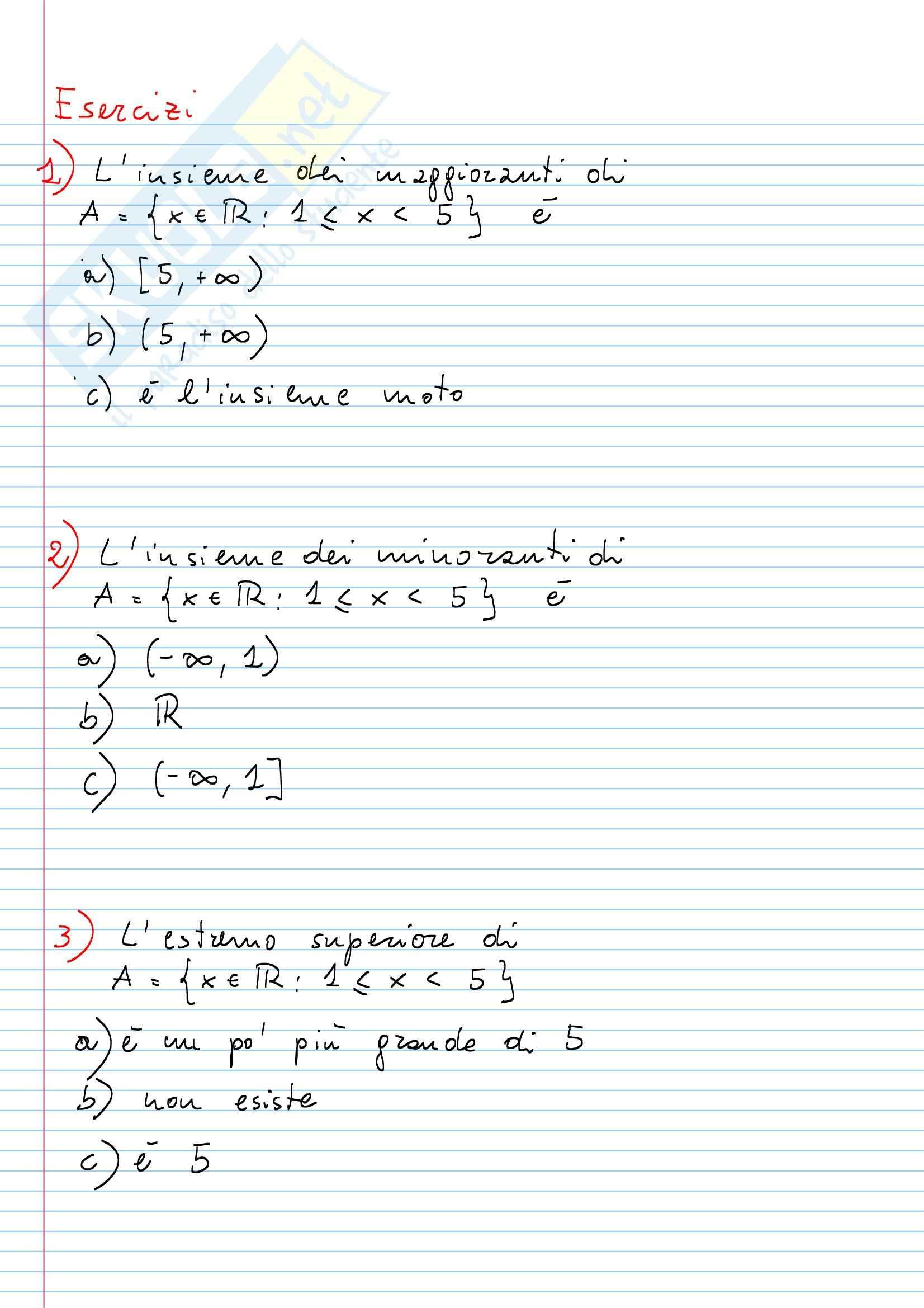 Esercizi, Matematica