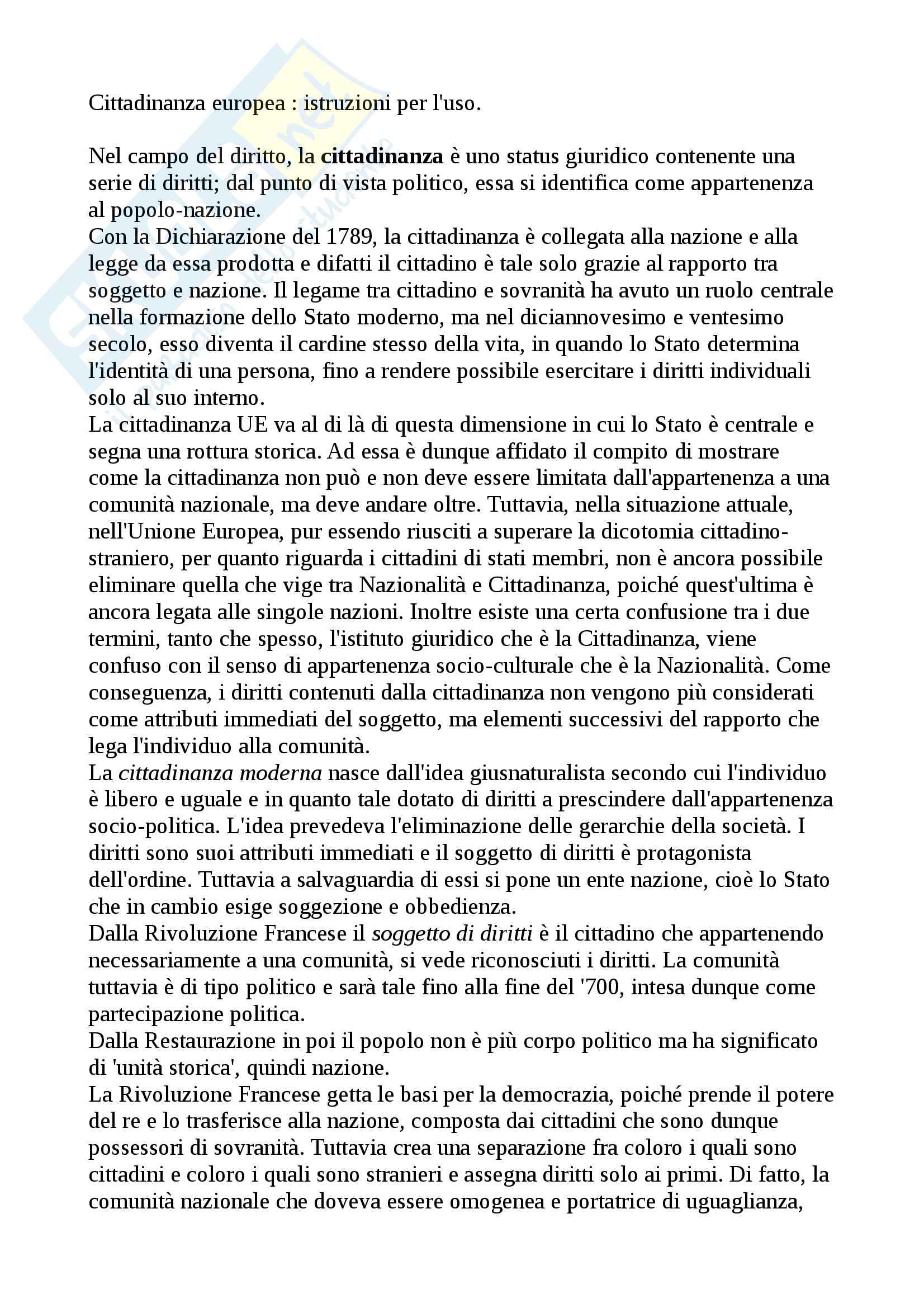 Riassunto esame Diritto dell'Unione Europea, prof Nicolosi, libro consigliato Cittadinanza europea : istruzioni per l'uso, Costanza Margiotta