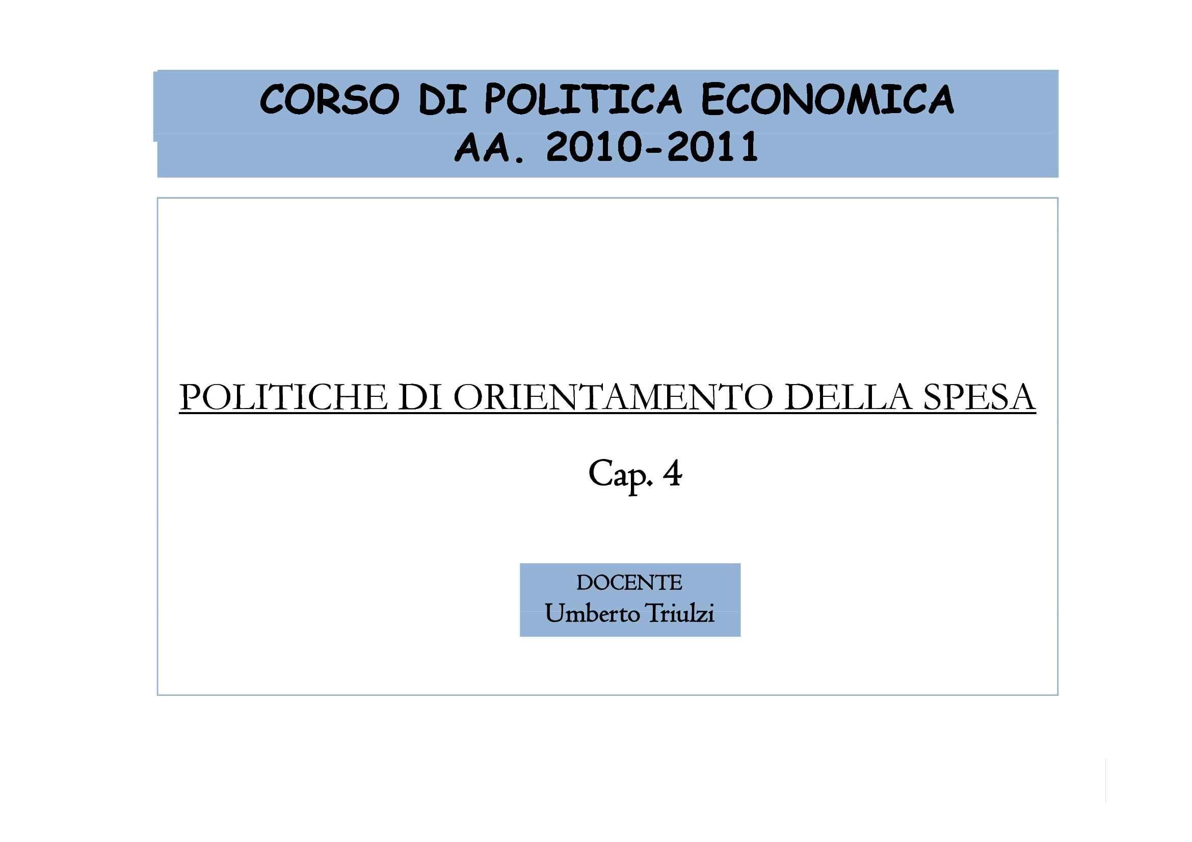 Politiche di orientamento della spesa