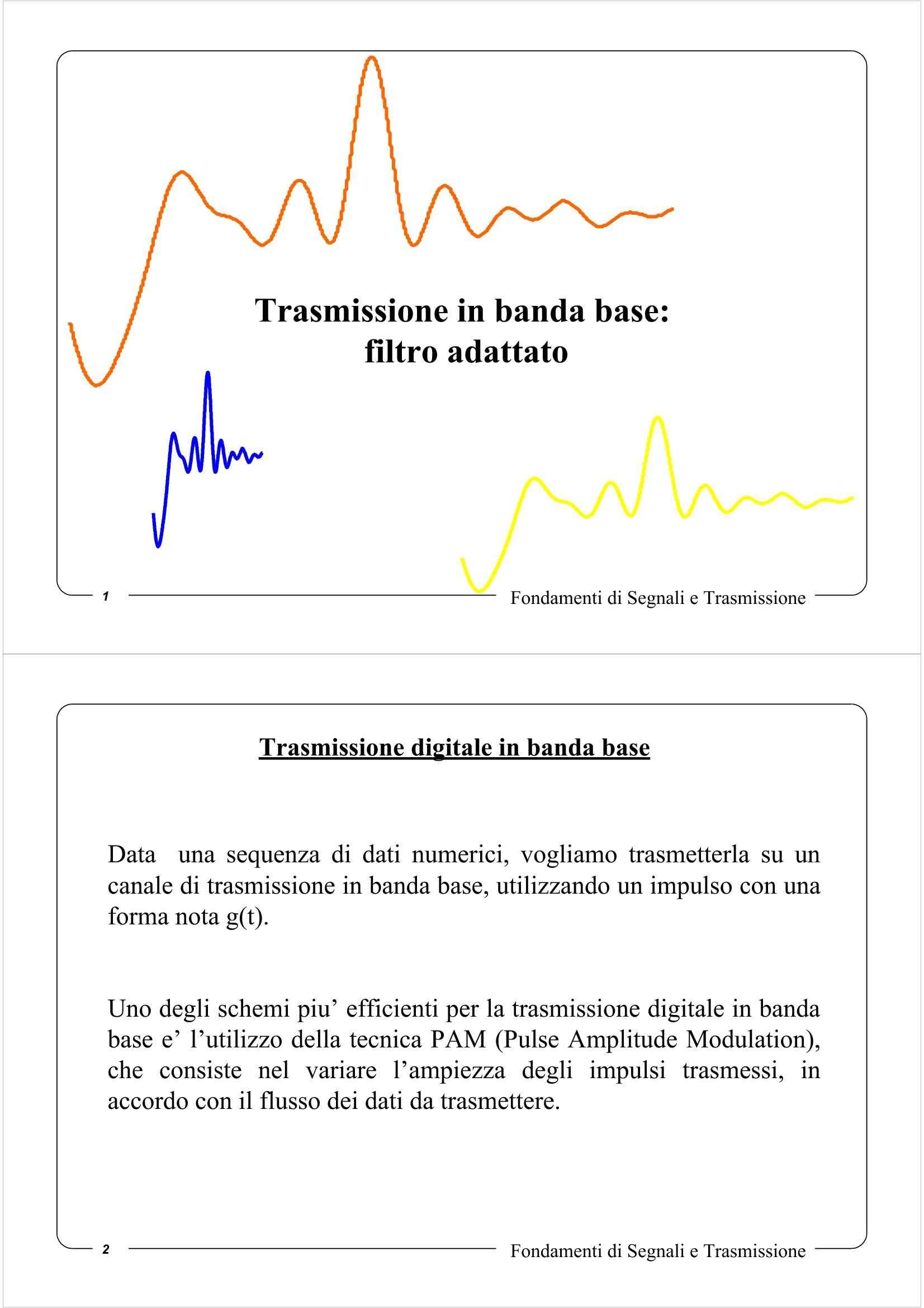 Trasmissione in banda base - Filtro adattato