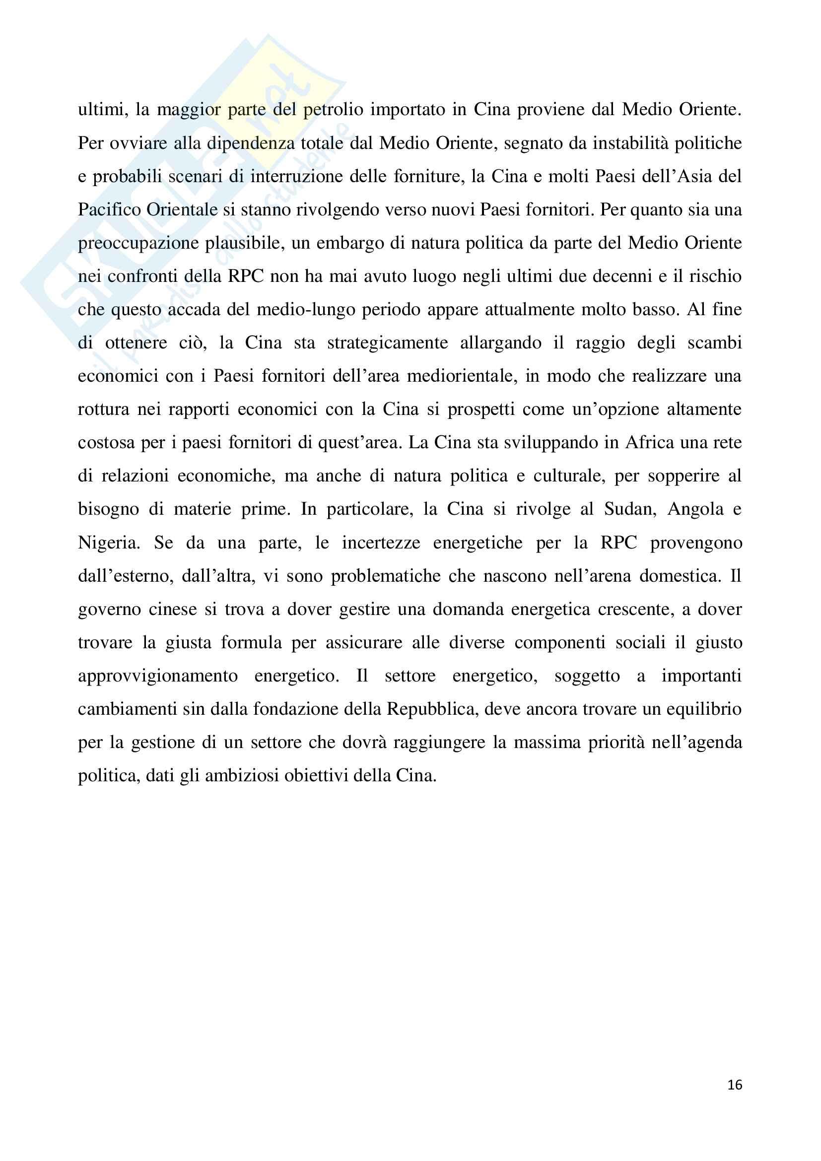 Tesi - Le nuove politiche energetiche della Repubblica Popolare Cinese Pag. 16