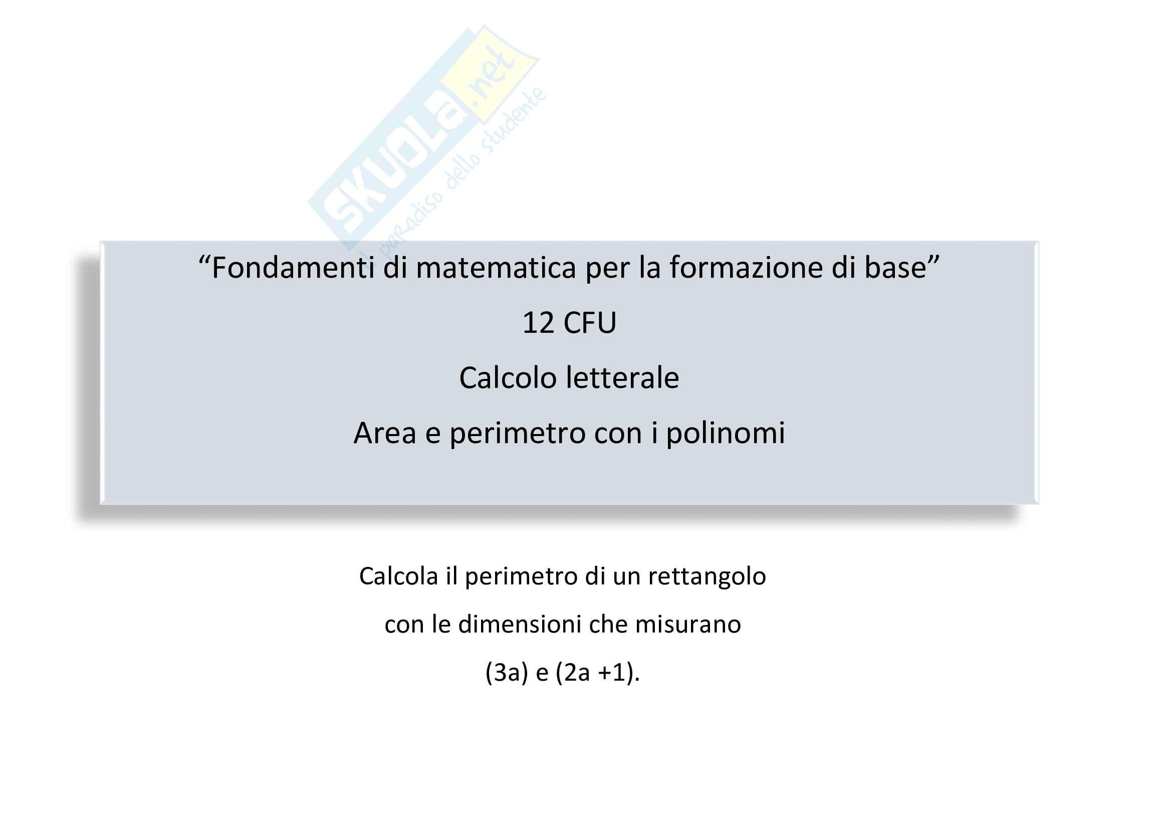 Calcolo letterale: area e perimetro con i polinomi