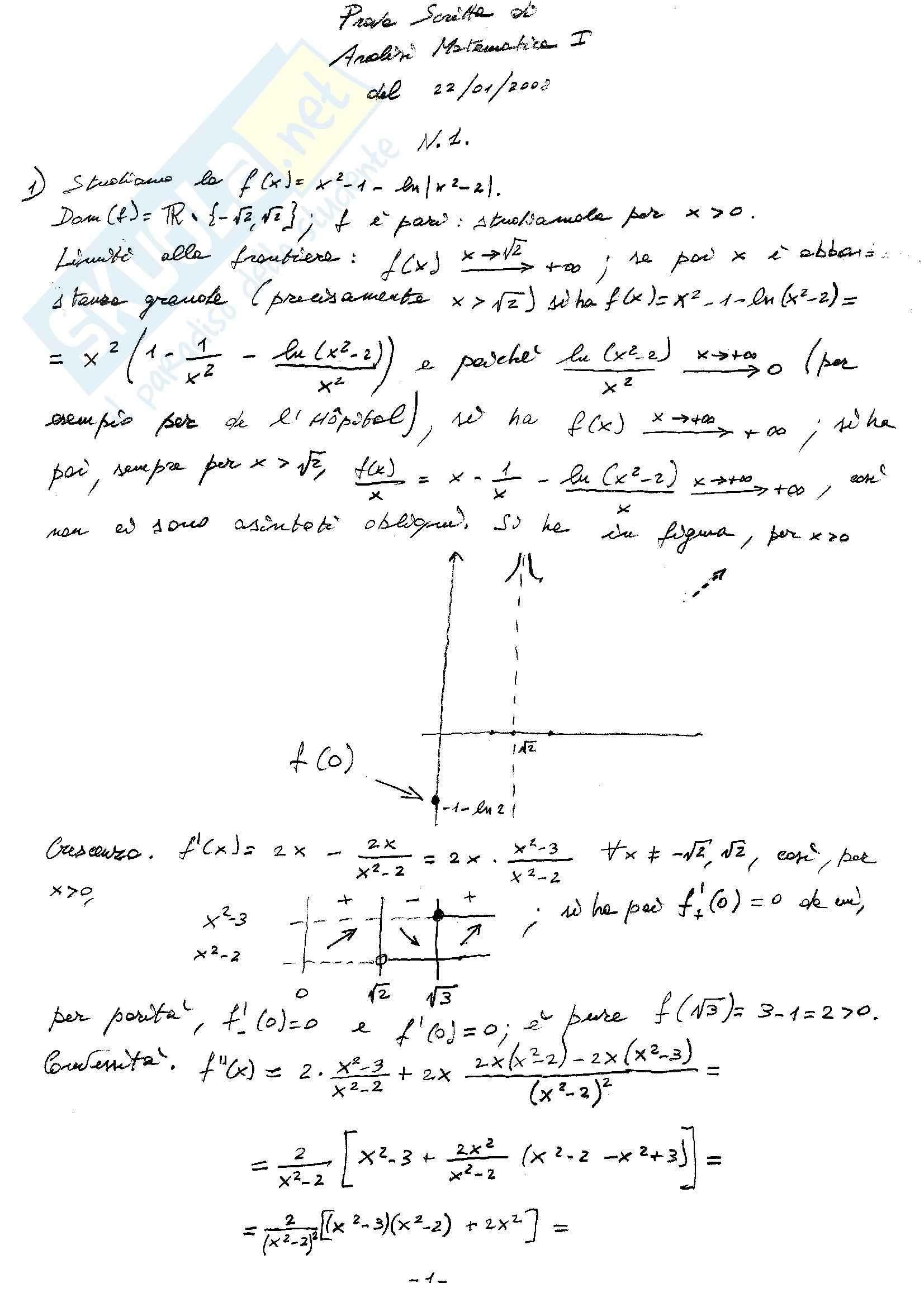 Analisi matematica uno - Testi e soluzioni