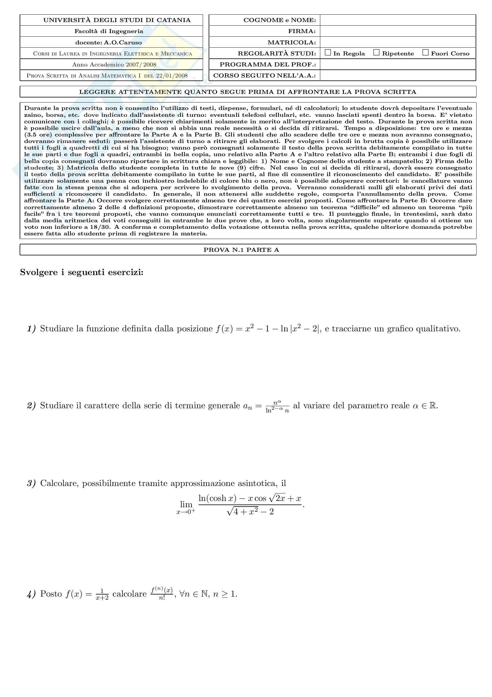Analisi matematica uno - Testi e soluzioni Pag. 11