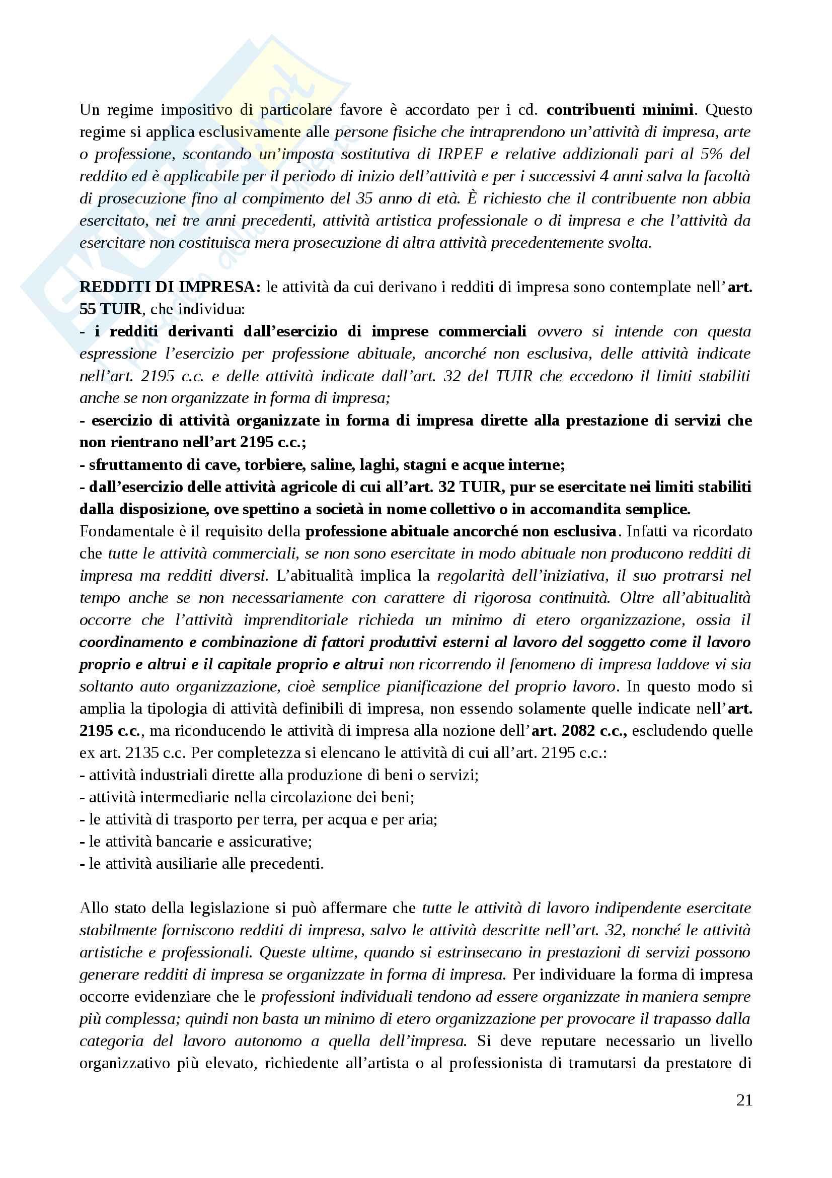 Riassunto esame Diritto Tributario II, prof. Tassani, libro consigliato Manuale di Diritto Tributario - Parte Speciale: Il sistema delle imposte in Italia,Falsitta, 2014 Pag. 21