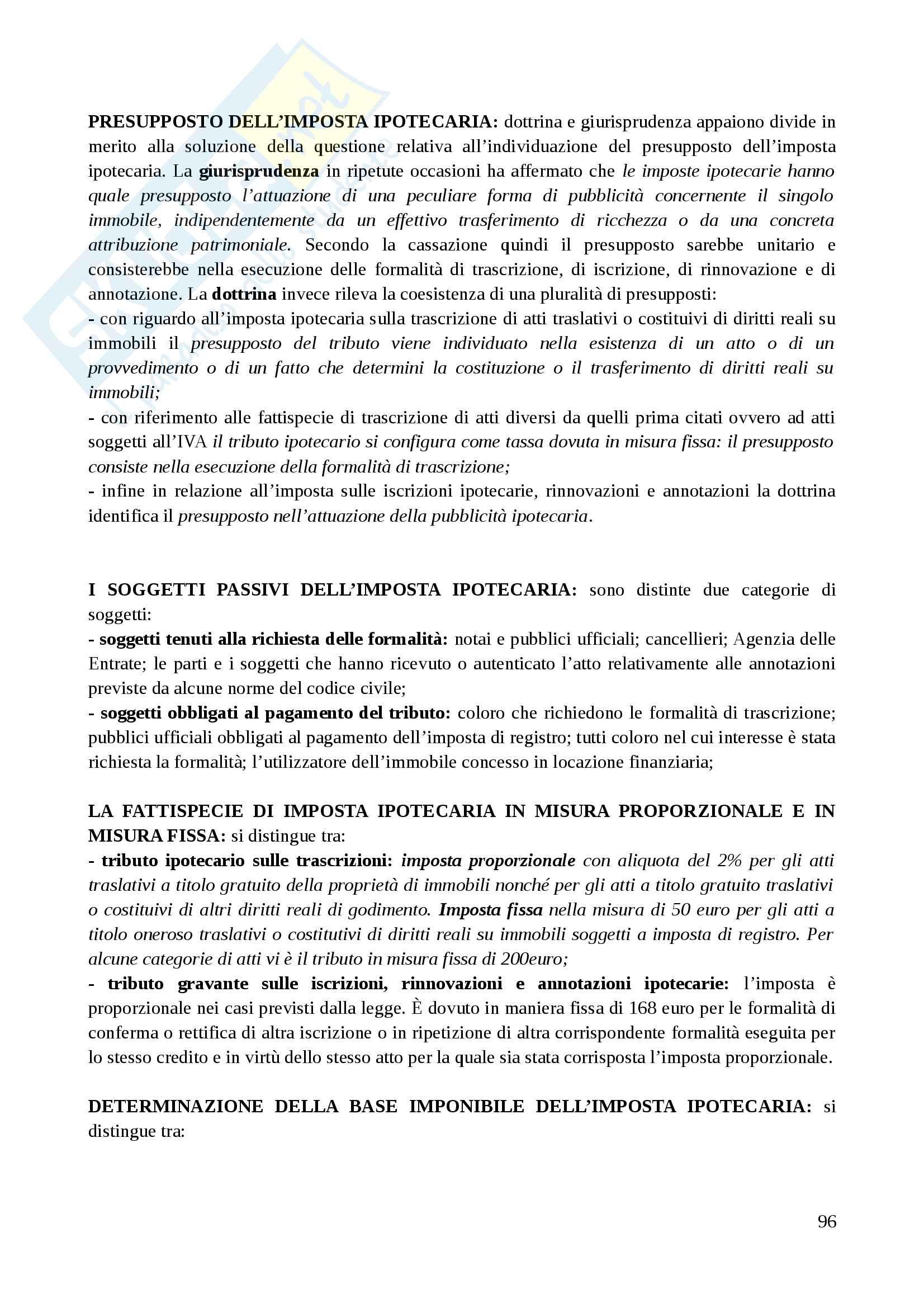 Riassunto esame Diritto Tributario II, prof. Tassani, libro consigliato Manuale di Diritto Tributario - Parte Speciale: Il sistema delle imposte in Italia,Falsitta, 2014 Pag. 96