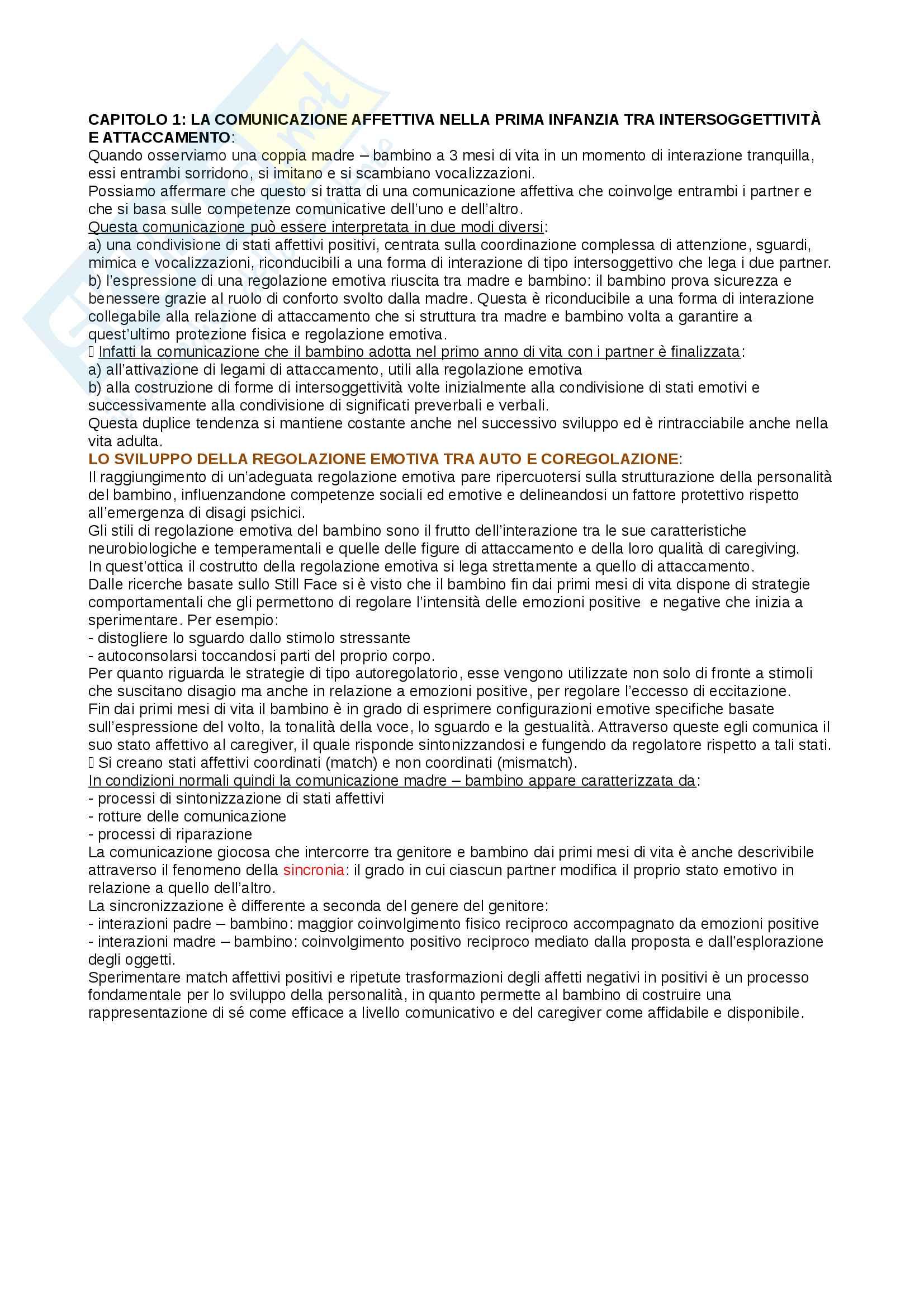 Sunto di psicologia dello sviluppo socio-affettivo, prof Riva Crugnola. Libro consigliato La relazione genitore bambino. Tra adeguatezza e rischio