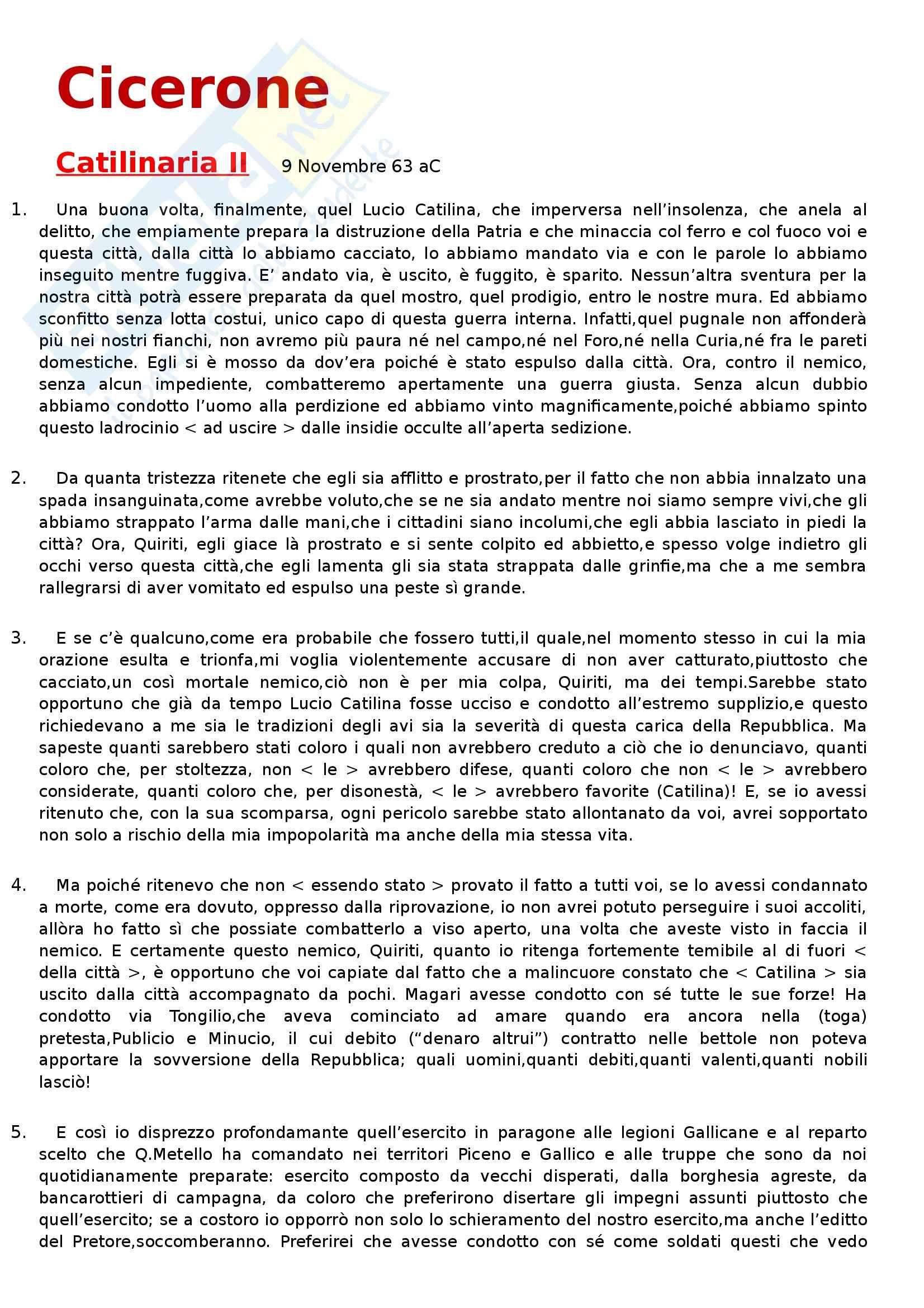 Letteratura latina  - Cicerone, Catilinaria II