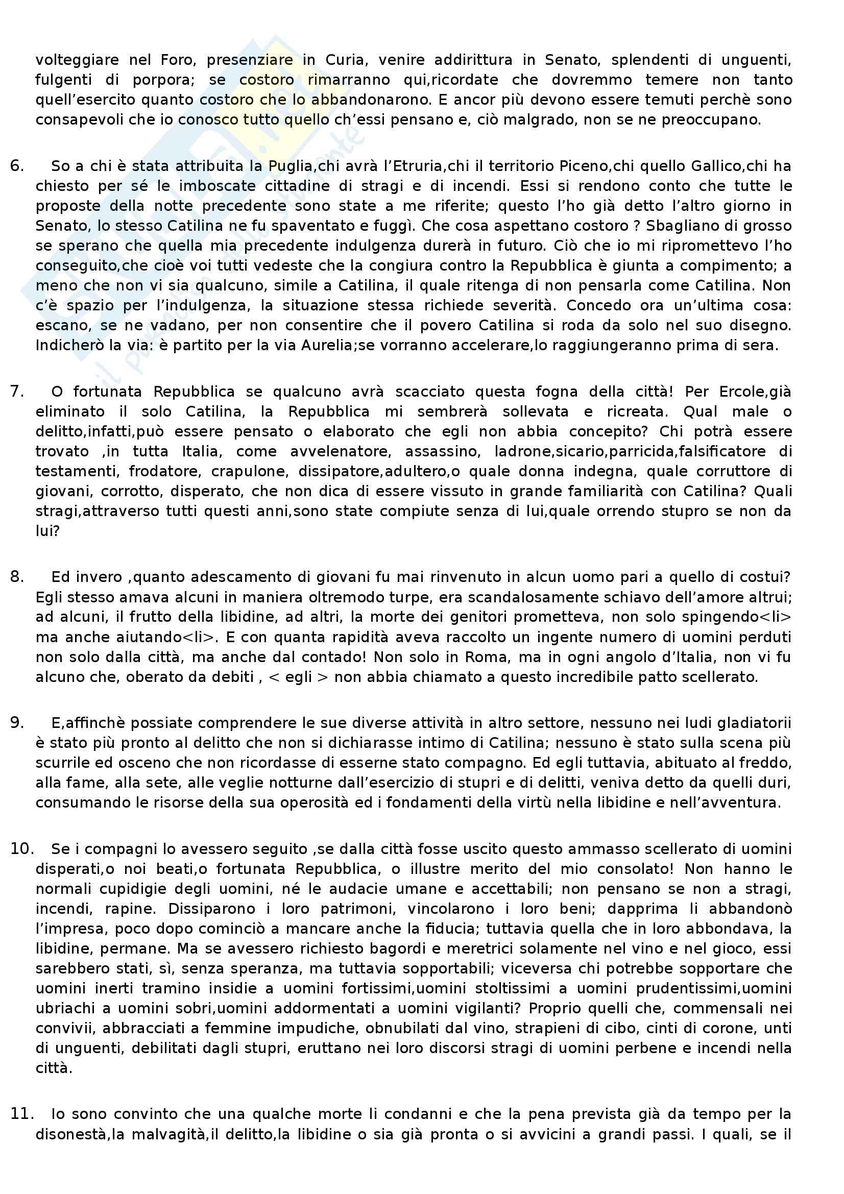 Letteratura latina  - Cicerone, Catilinaria II Pag. 2
