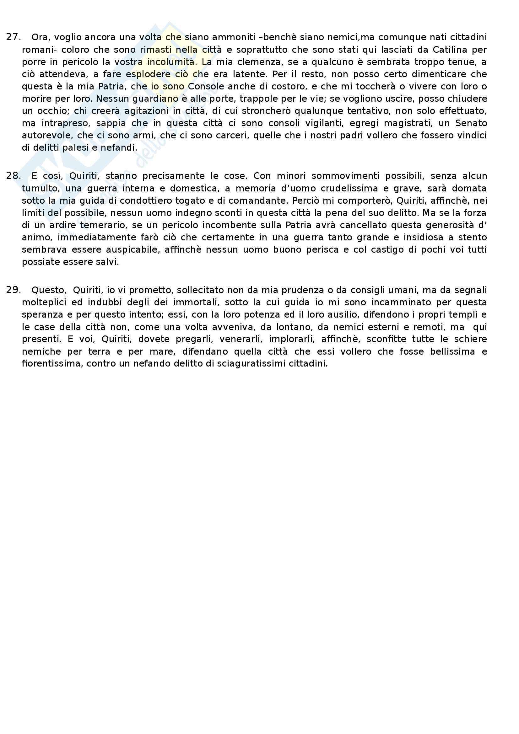 Letteratura latina  - Cicerone, Catilinaria II Pag. 6