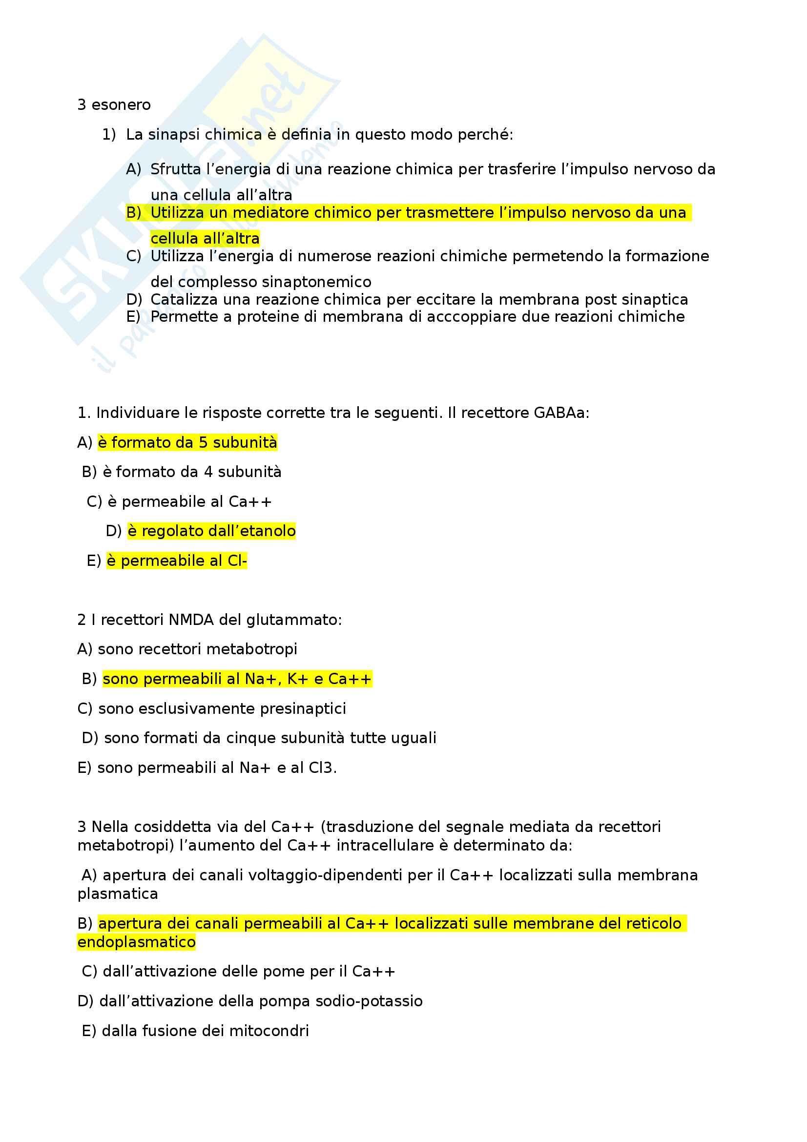 Domande esame biologia, prof Bevilacqua