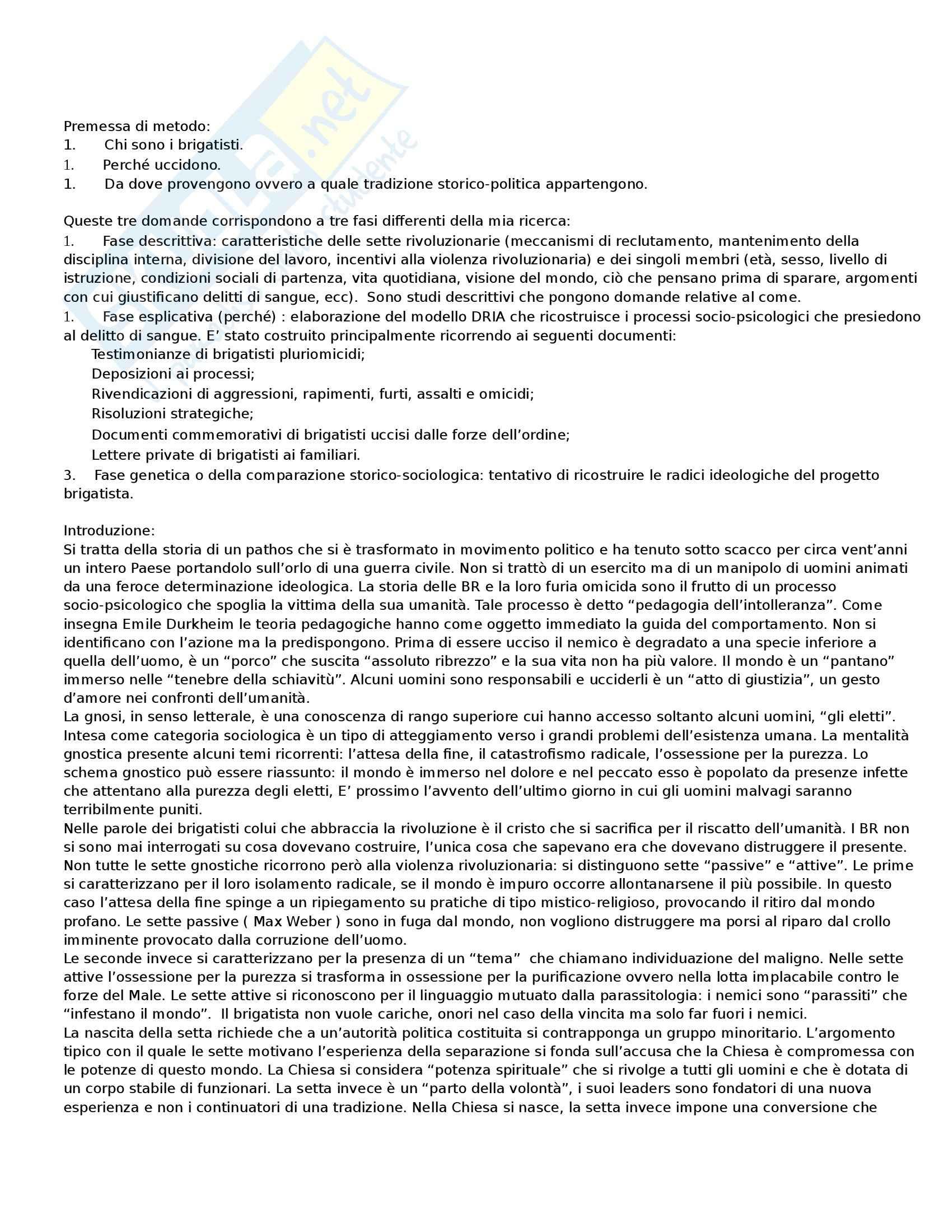 Riassunto esame Sociologia dei fenomeni politici, prof. Orsini, libro consigliato Anatomia delle Brigate Rosse