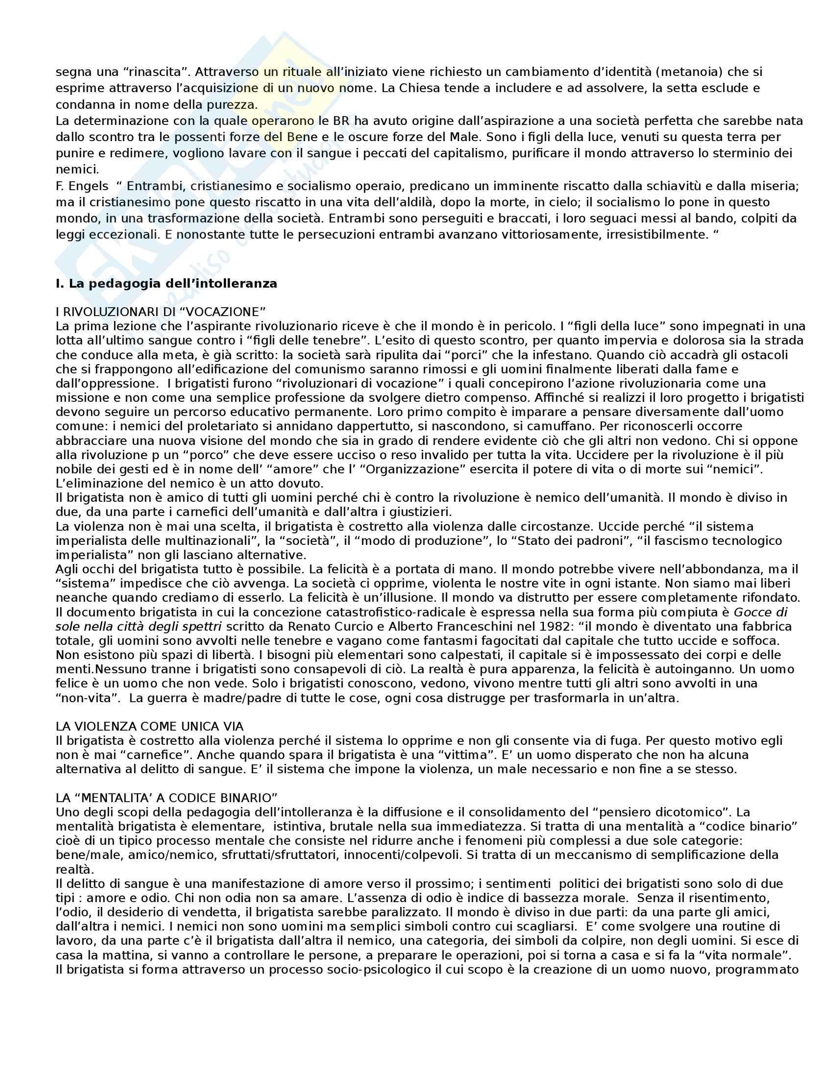 Riassunto esame Sociologia dei fenomeni politici, prof. Orsini, libro consigliato Anatomia delle Brigate Rosse Pag. 2