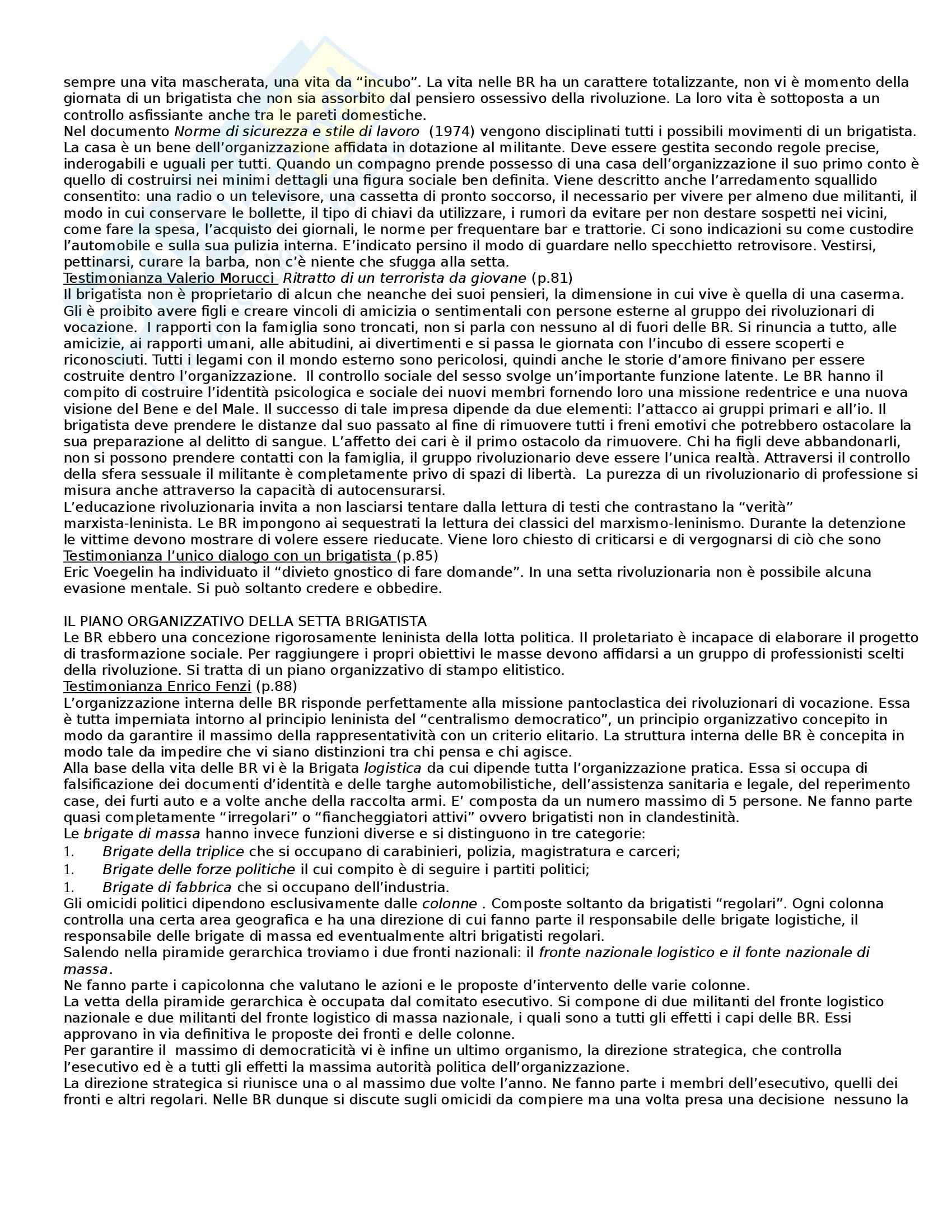 Riassunto esame Sociologia dei fenomeni politici, prof. Orsini, libro consigliato Anatomia delle Brigate Rosse Pag. 6