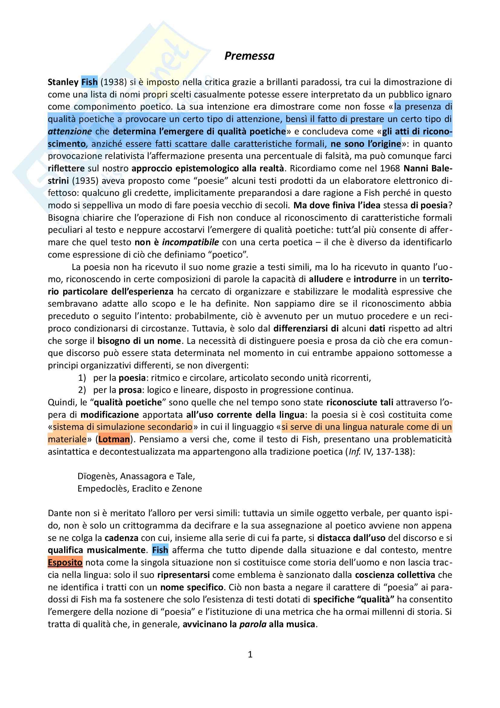 Riassunto esame Teoria della letteratura, prof. Esposito, libro consigliato Il verso, Esposito