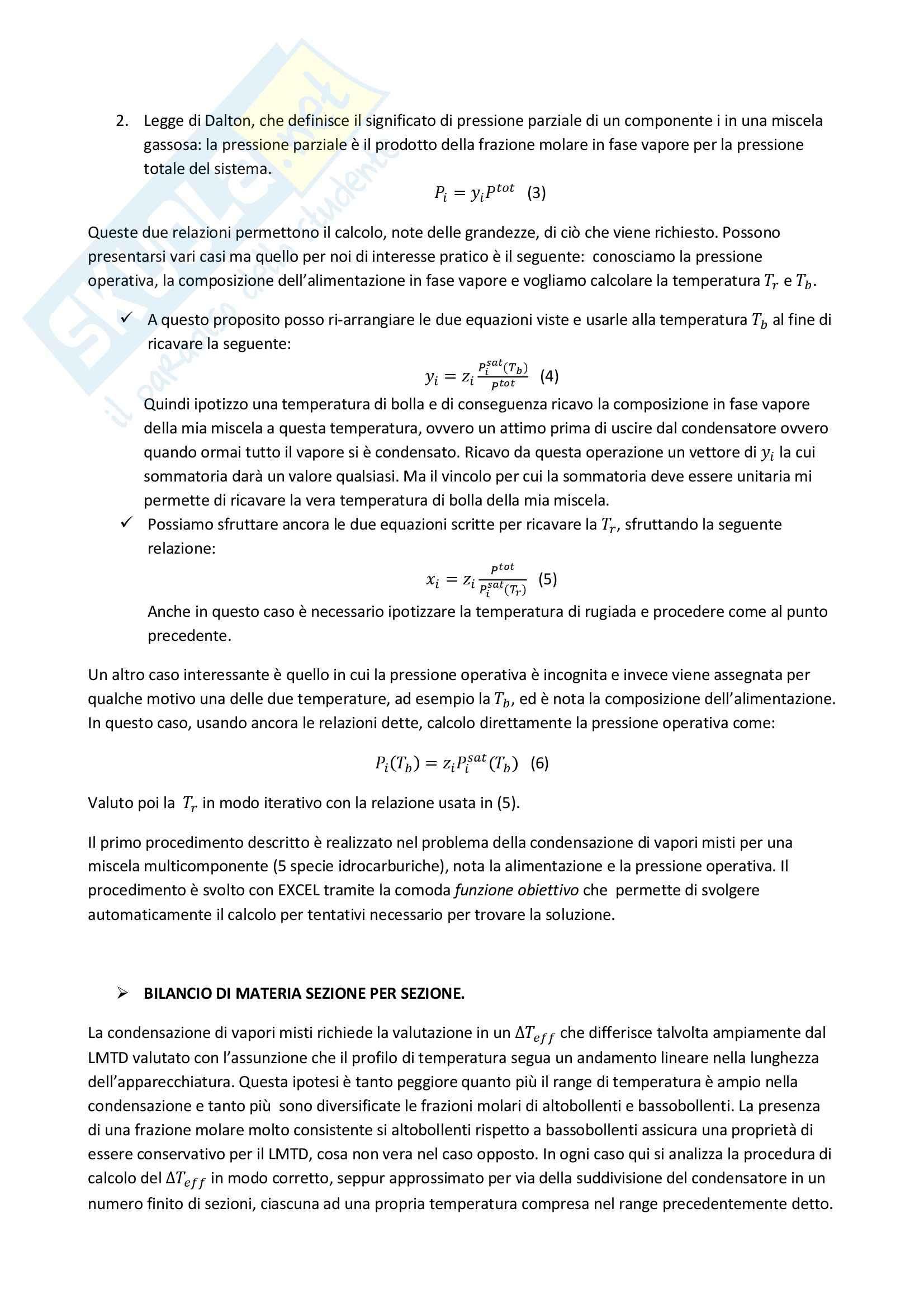 Condensatore di vapori misti, Operazioni unitarie Pag. 2