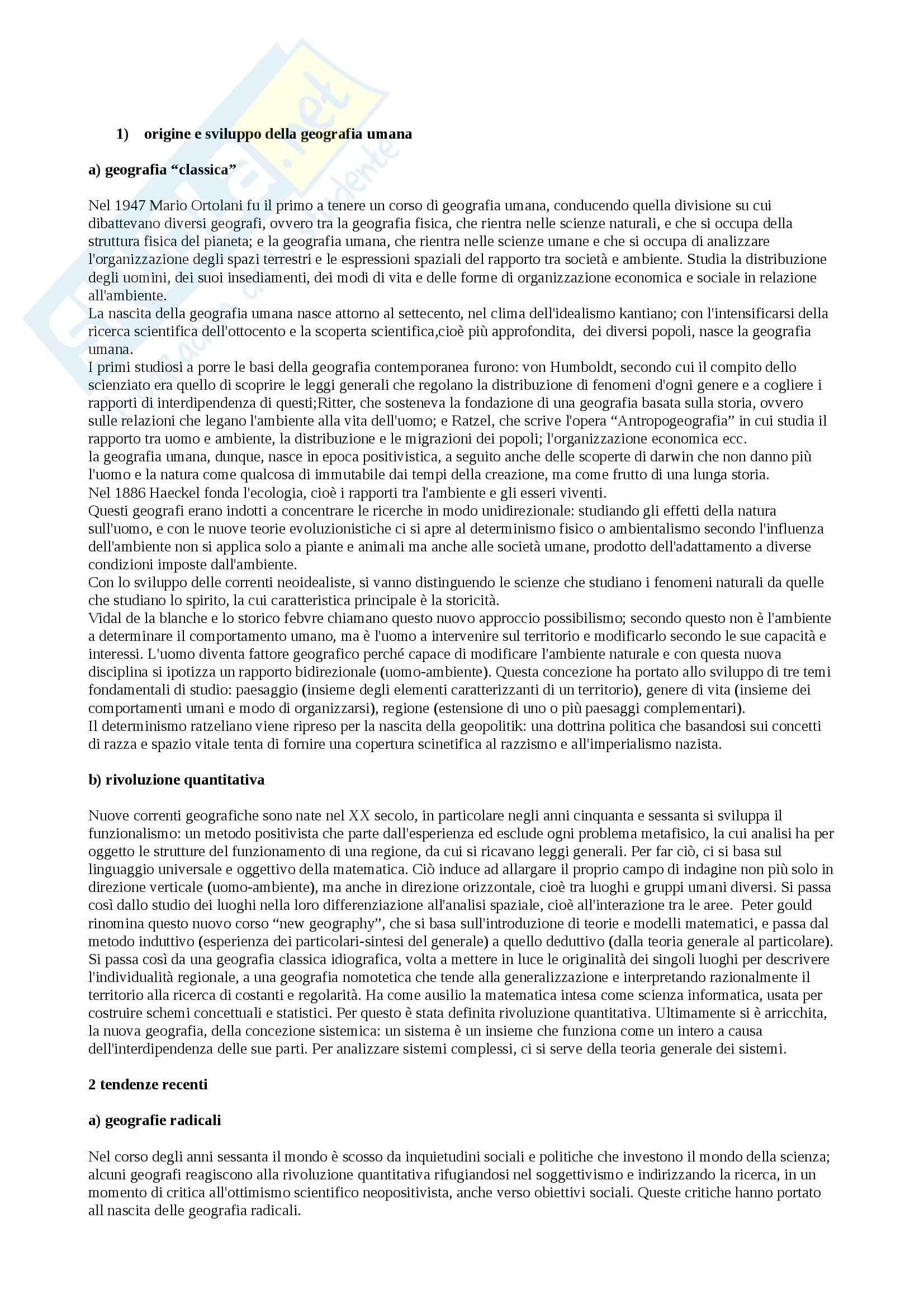 Riassunto esame Geografia, prof. Federzoni, libro consigliato Compendio di Geografia Umana, Dagradi, Cencini