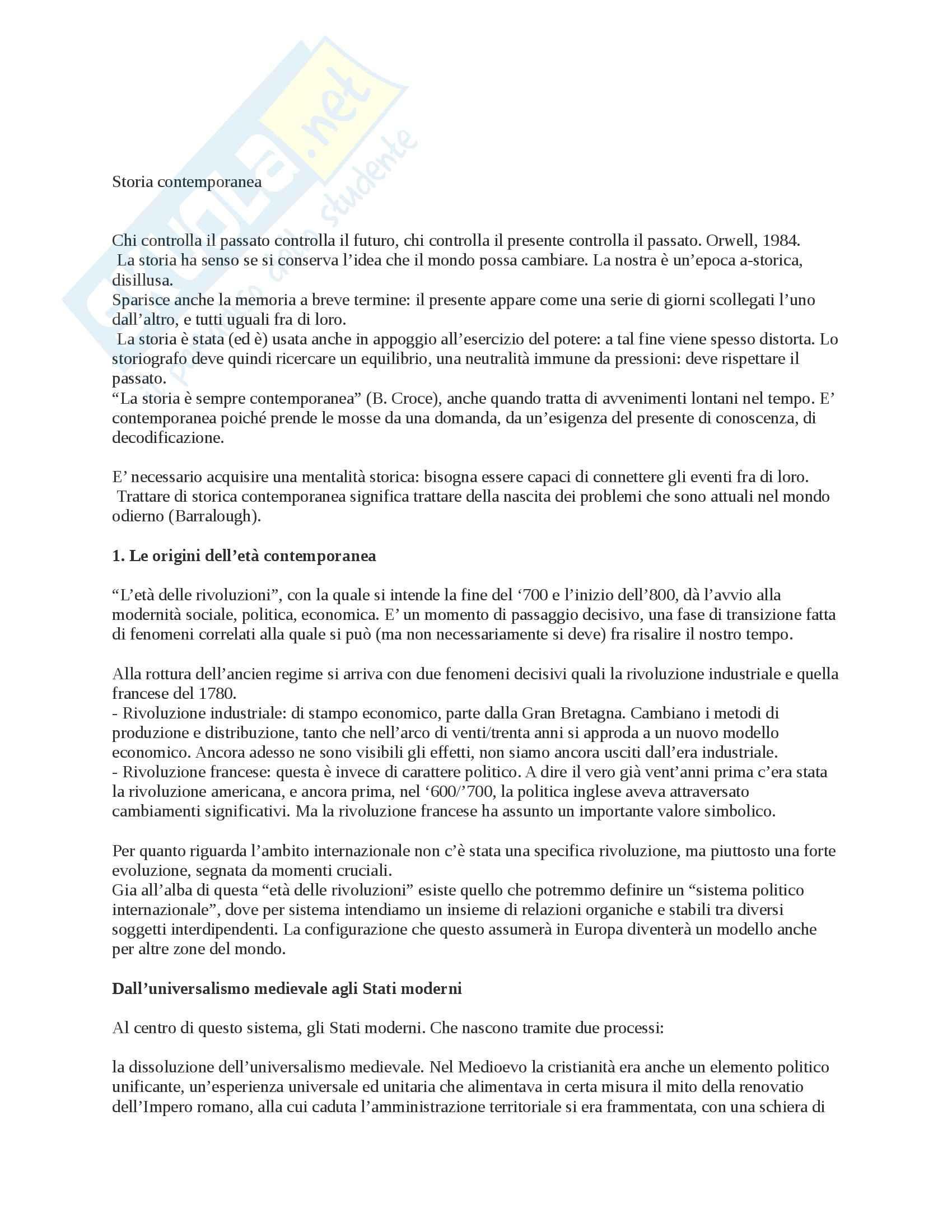 Riassunto esame Storia Contemporanea, prof. Formigoni, libro consigliato Storia della Politica Internazionale nell'Età Contemporanea