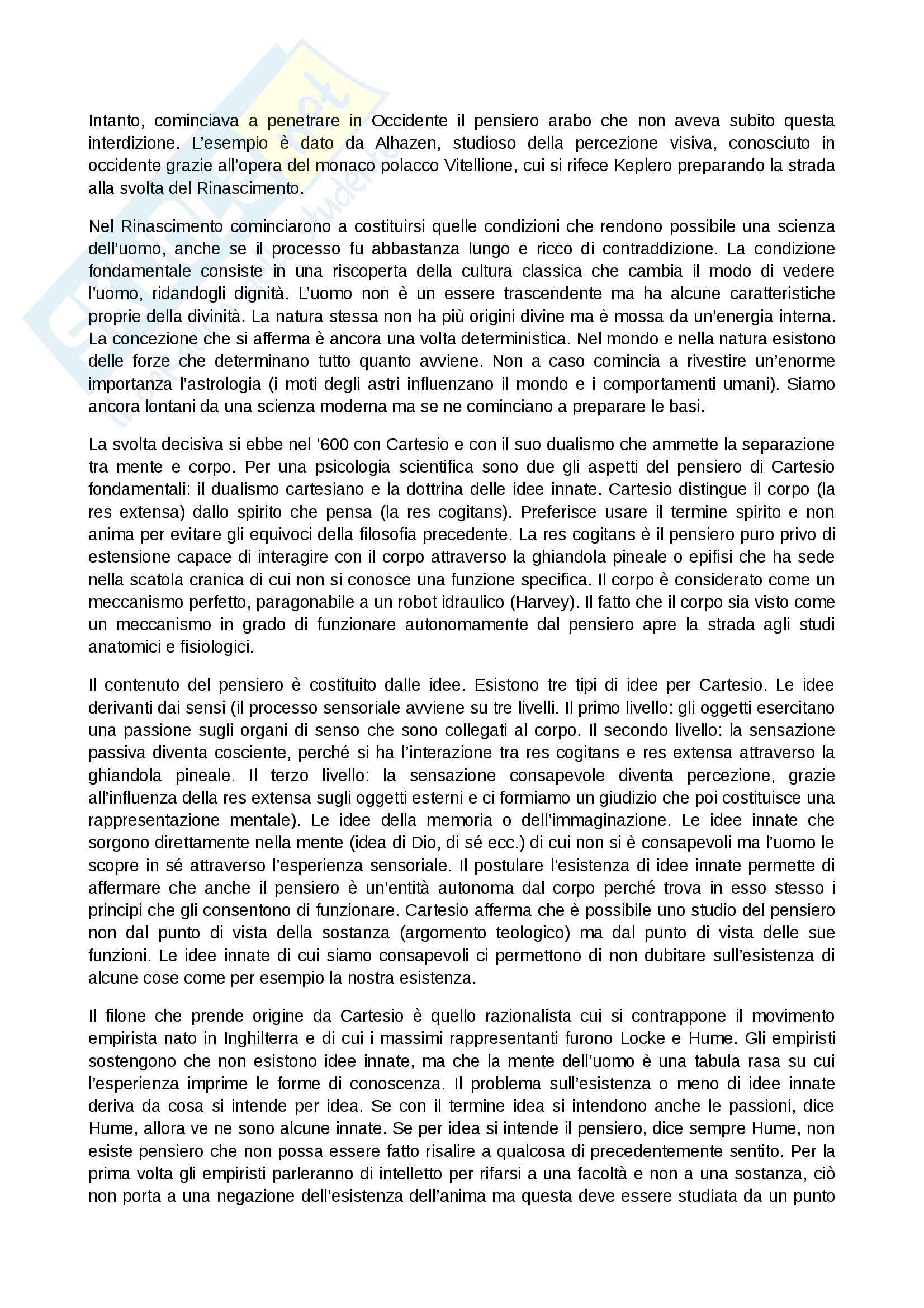 Riassunto origini e storia psicologia Pag. 2