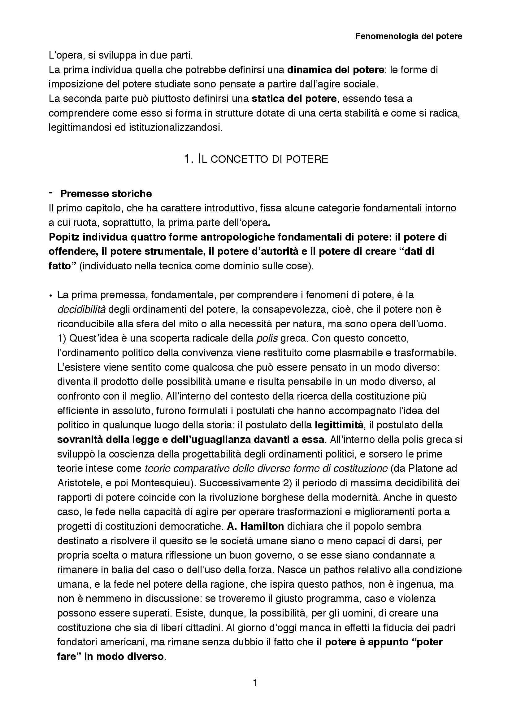 Riassunto esame Sociologia della cultura, prof. Biuso, libro consigliato Fenomenologia del potere, Popitz