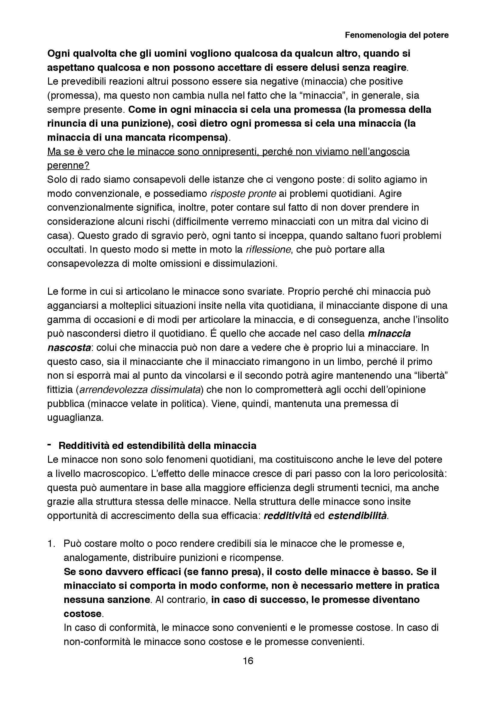 Riassunto esame Sociologia della cultura, prof. Biuso, libro consigliato Fenomenologia del potere, Popitz Pag. 16