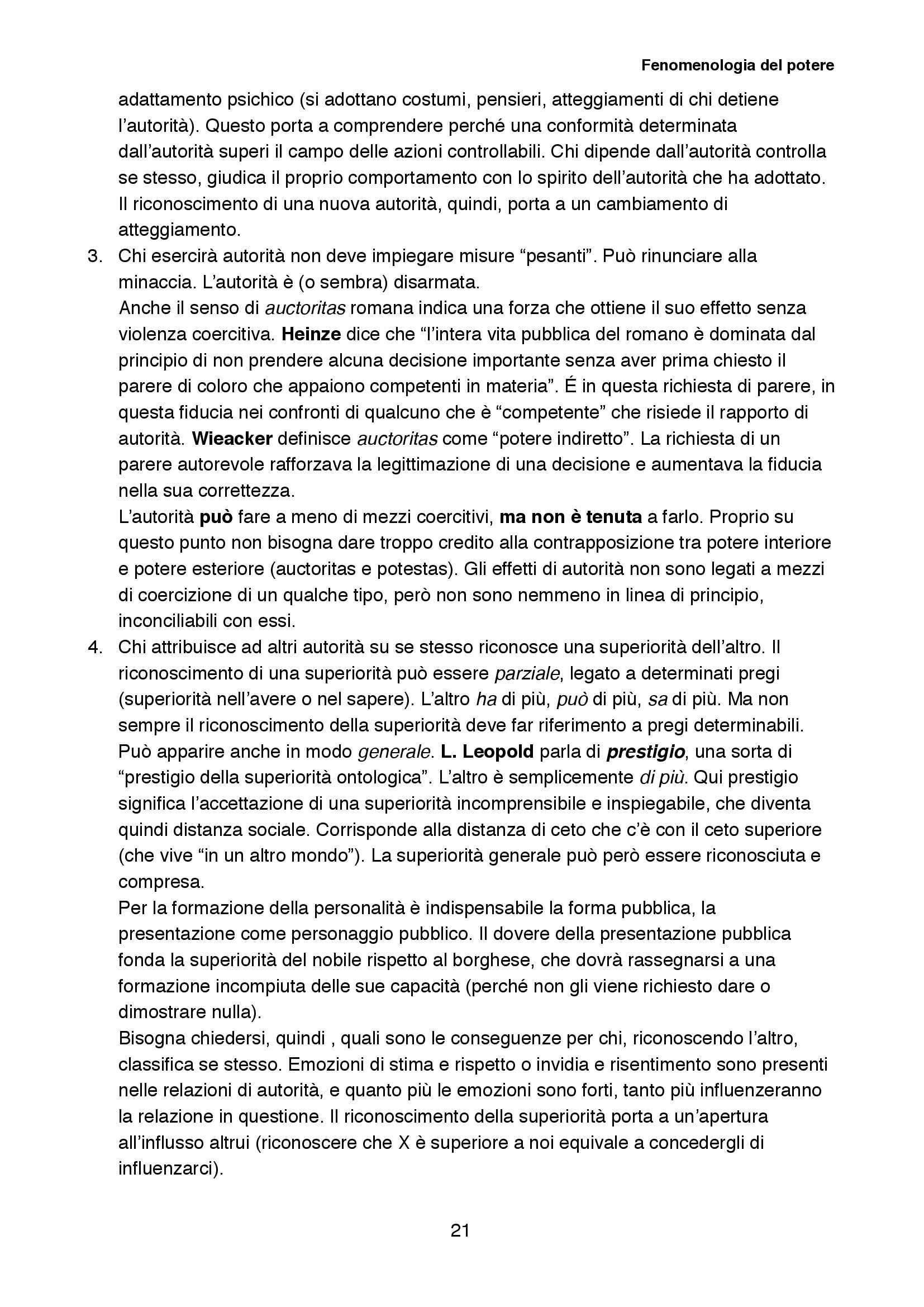 Riassunto esame Sociologia della cultura, prof. Biuso, libro consigliato Fenomenologia del potere, Popitz Pag. 21