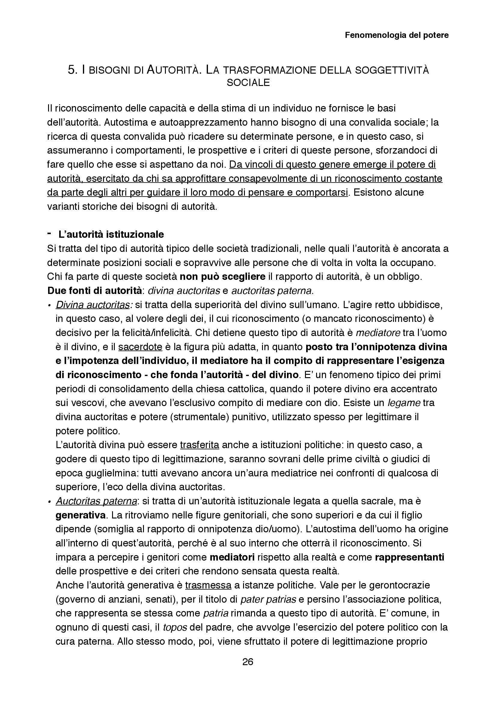 Riassunto esame Sociologia della cultura, prof. Biuso, libro consigliato Fenomenologia del potere, Popitz Pag. 26