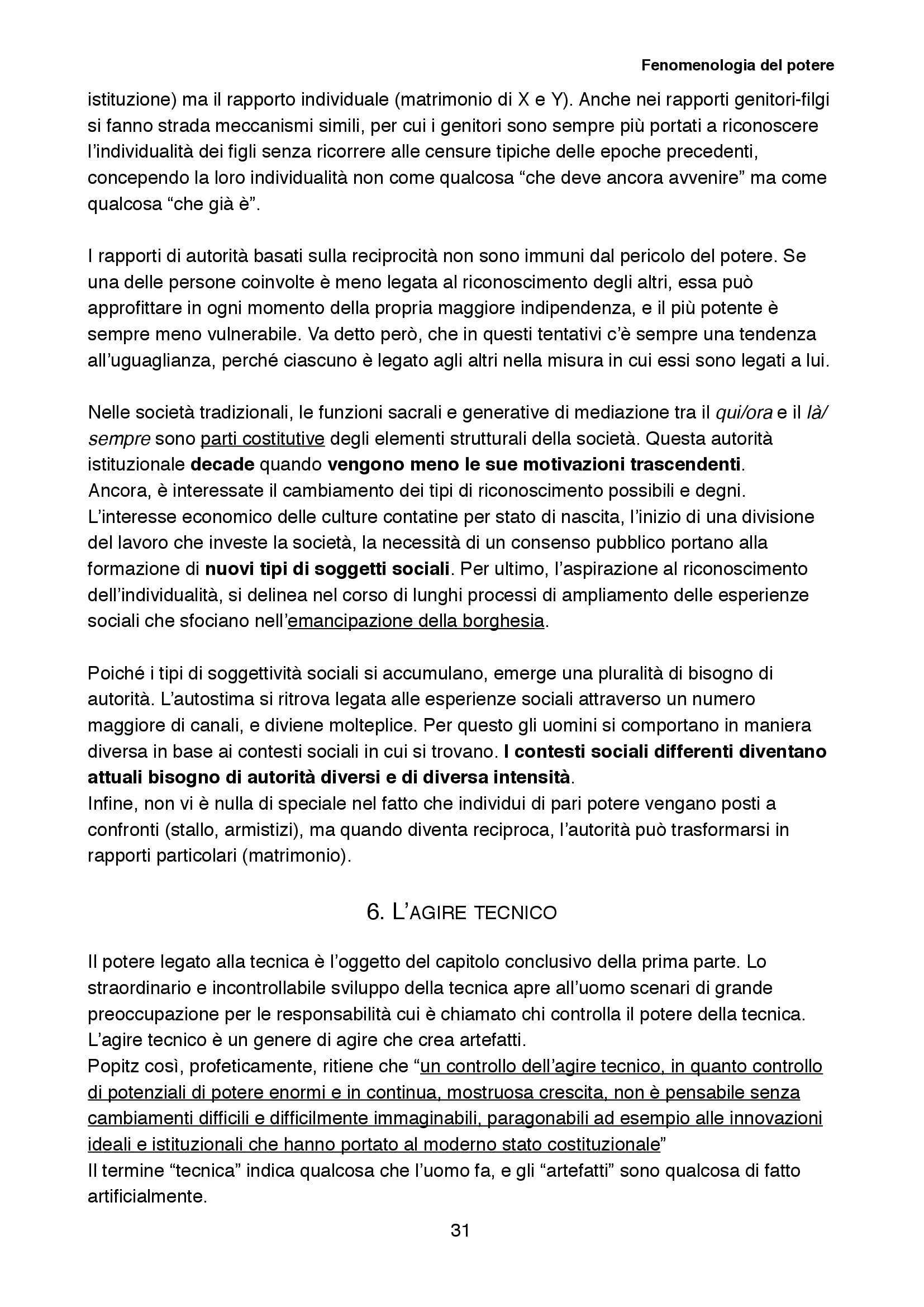 Riassunto esame Sociologia della cultura, prof. Biuso, libro consigliato Fenomenologia del potere, Popitz Pag. 31
