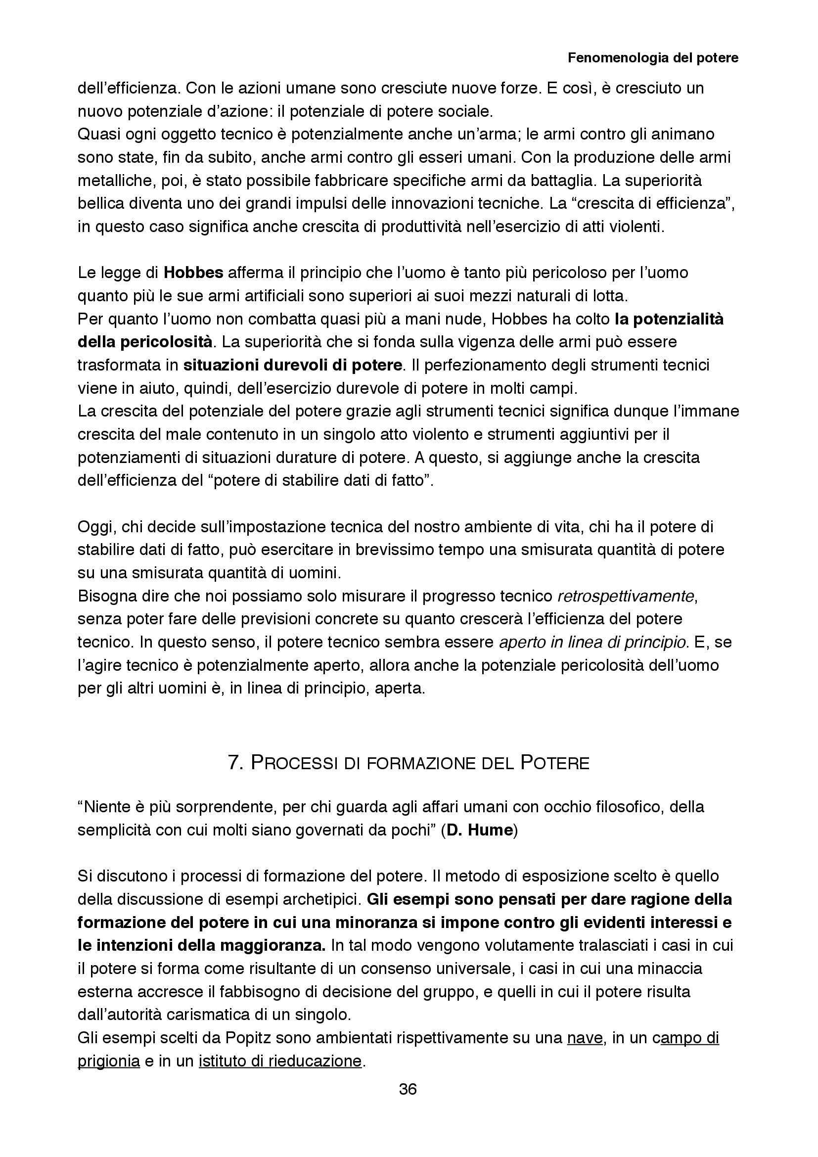 Riassunto esame Sociologia della cultura, prof. Biuso, libro consigliato Fenomenologia del potere, Popitz Pag. 36