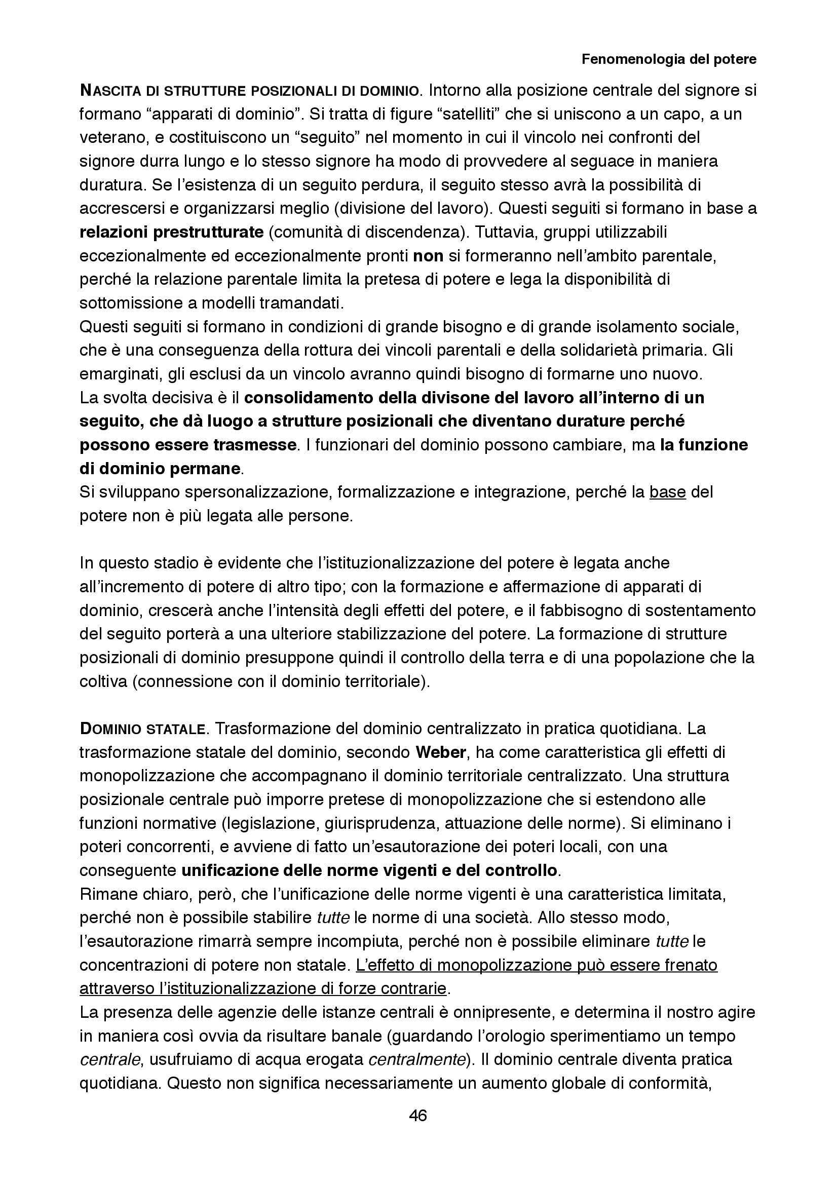 Riassunto esame Sociologia della cultura, prof. Biuso, libro consigliato Fenomenologia del potere, Popitz Pag. 46