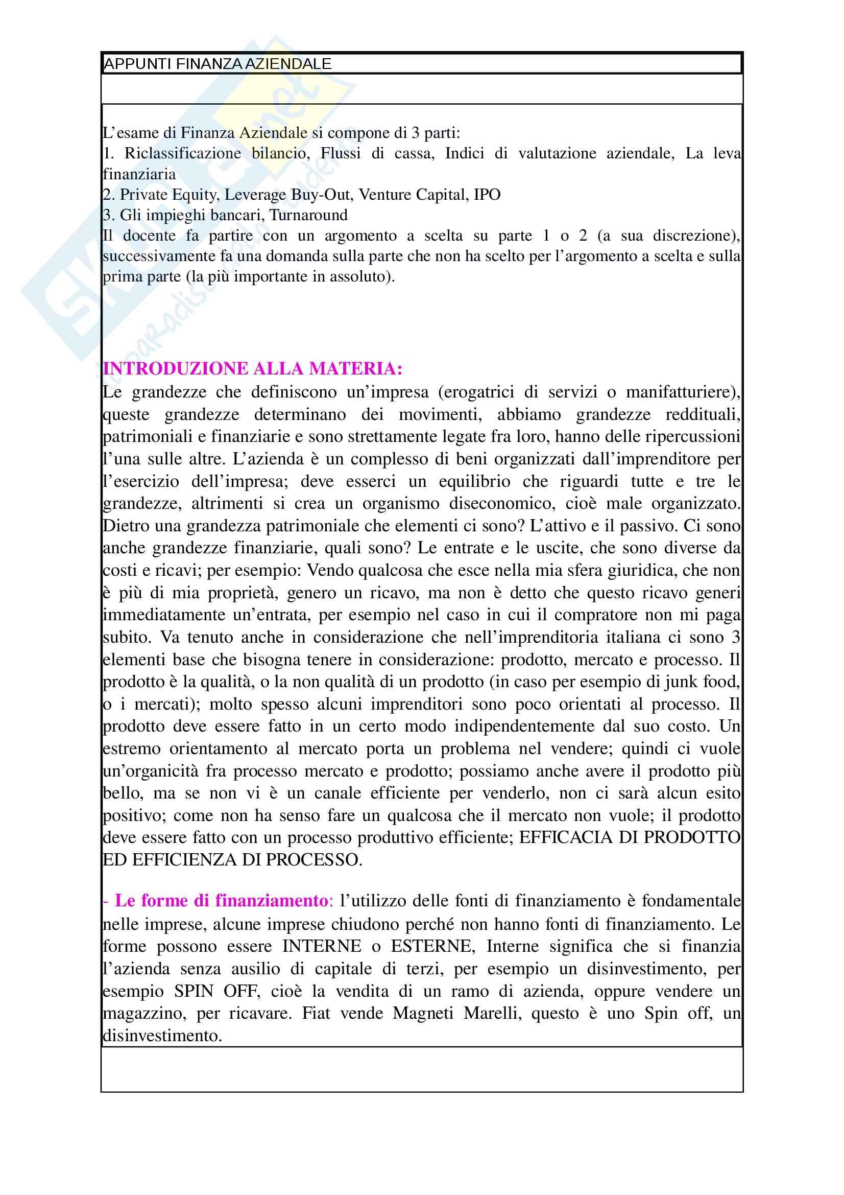 Finanza Aziendale, Giardina