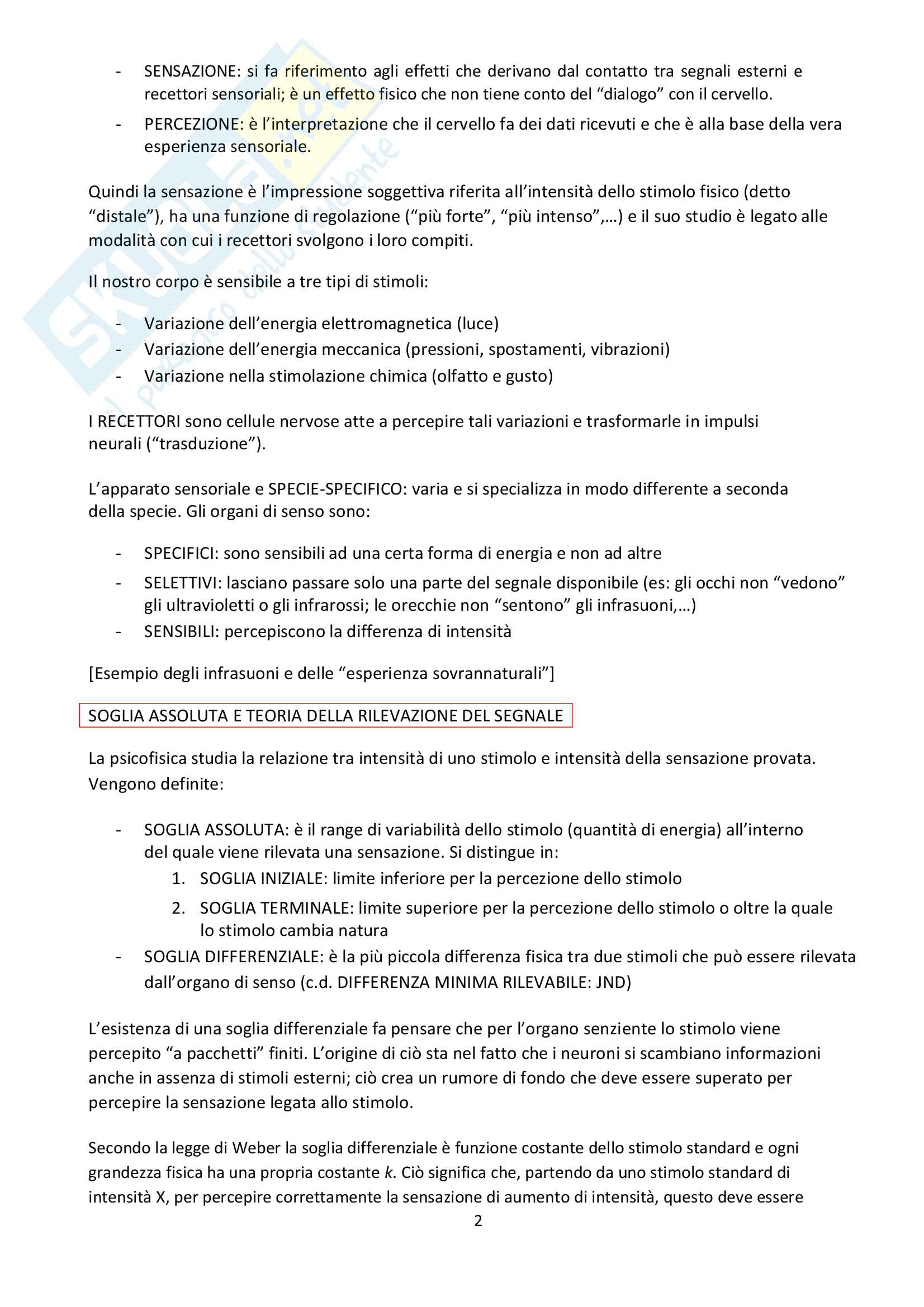 Psicologia dei processi cognitivi Pag. 2
