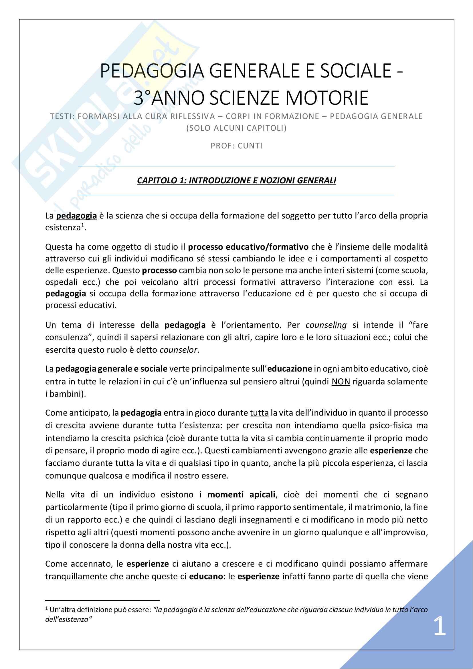 Pedagogia Generale e Sociale - 3° Anno