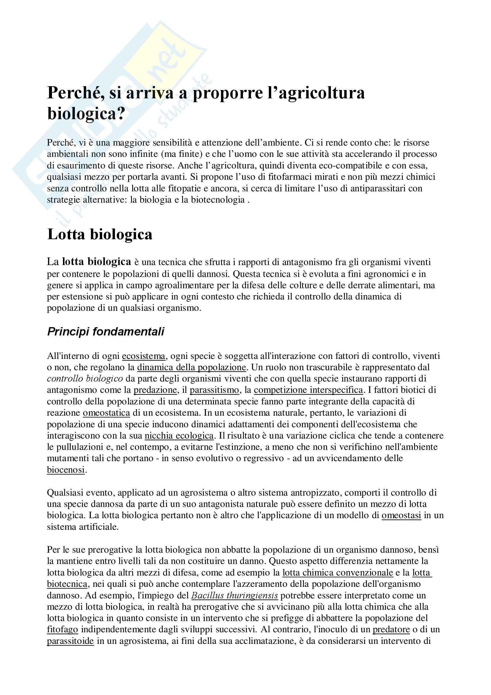 Ecologia - lotta biologica - Appunti
