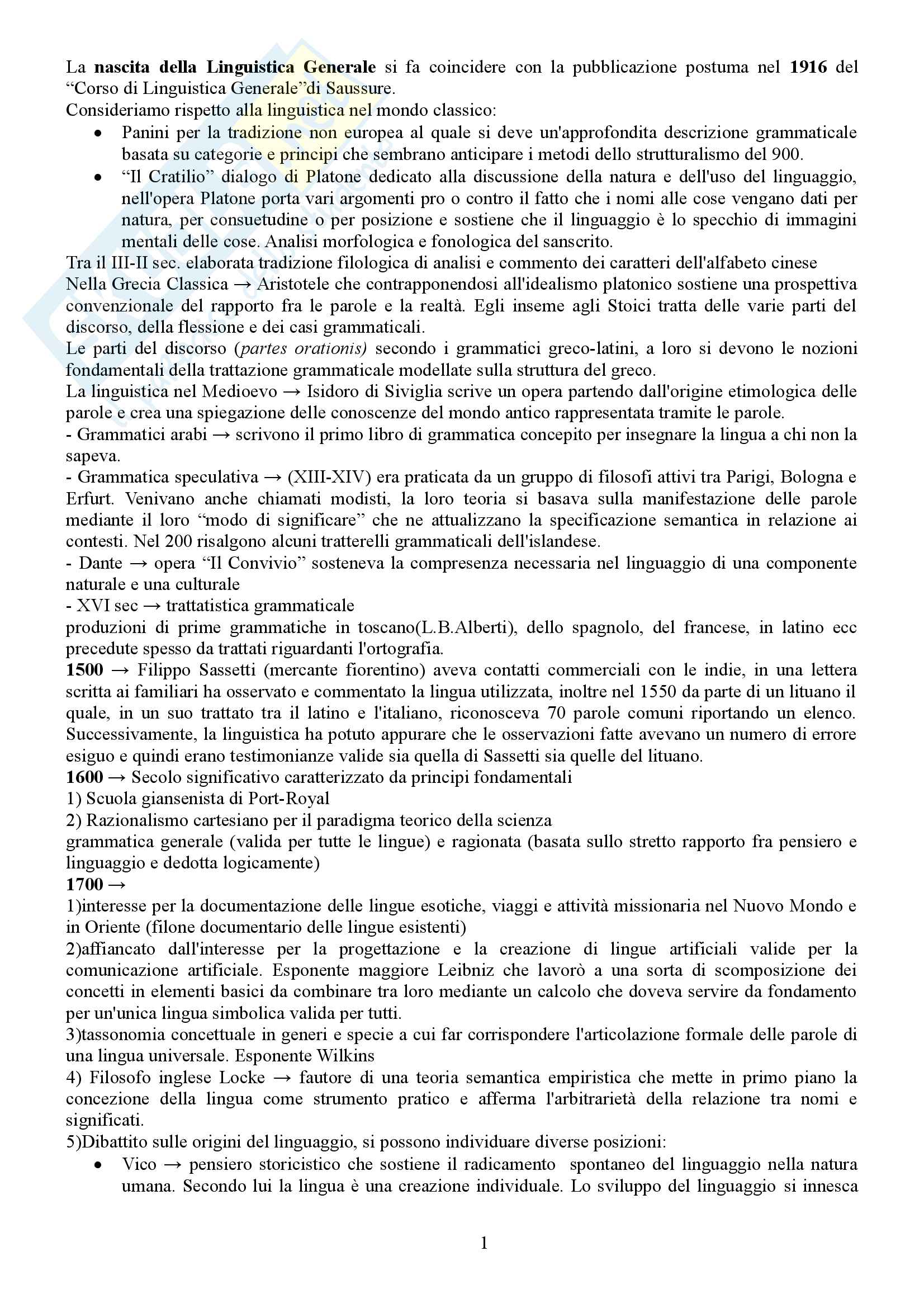 Riassunto esame Di linguistica Generale - P. Dini