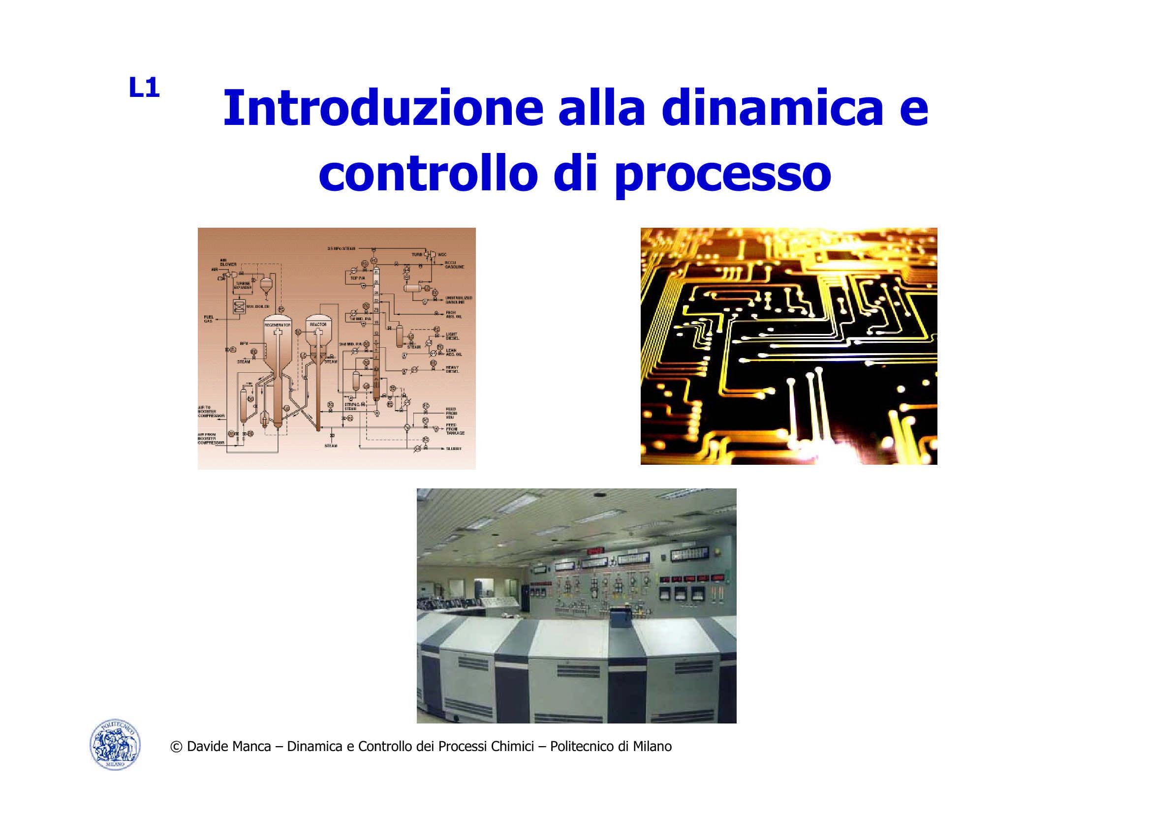 Dinamica e controllo di processo - Introduzione