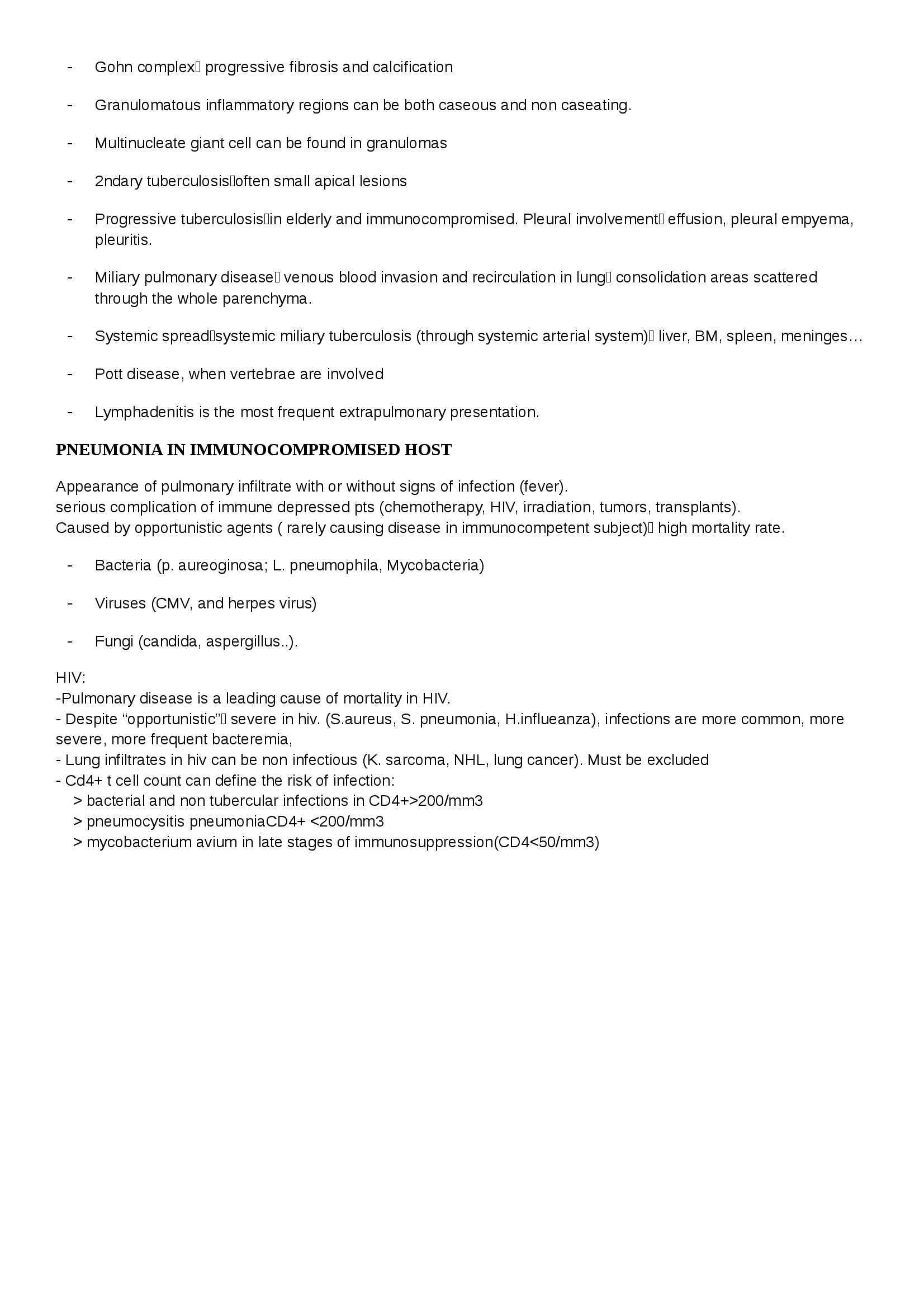 Riassunto esame Pneumologia, prof. Centanni, libro consigliato Pulmonary Infections and Pneumonia, Robbins Pag. 6