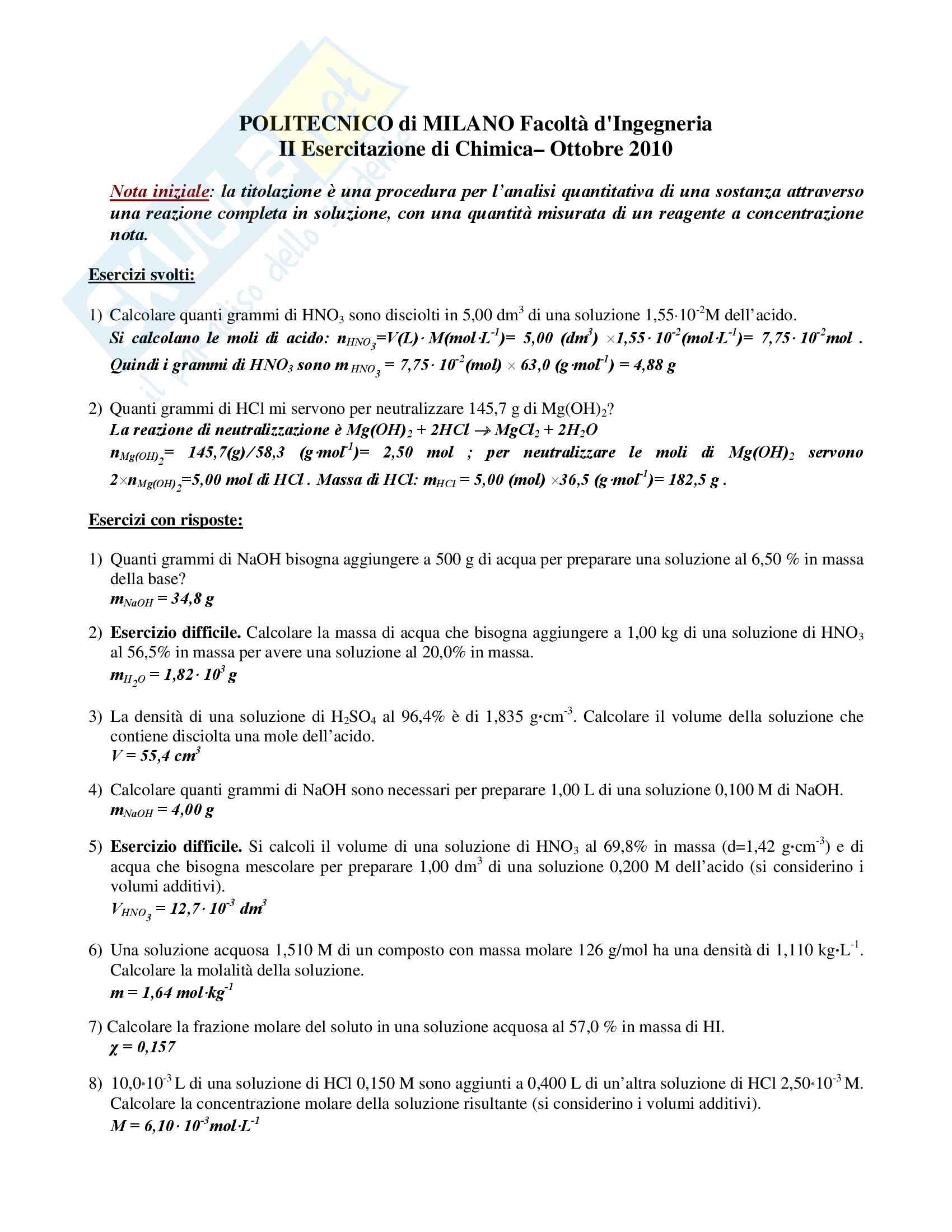 Chimica dell'edificio - Temi d'esame svolti Pag. 86