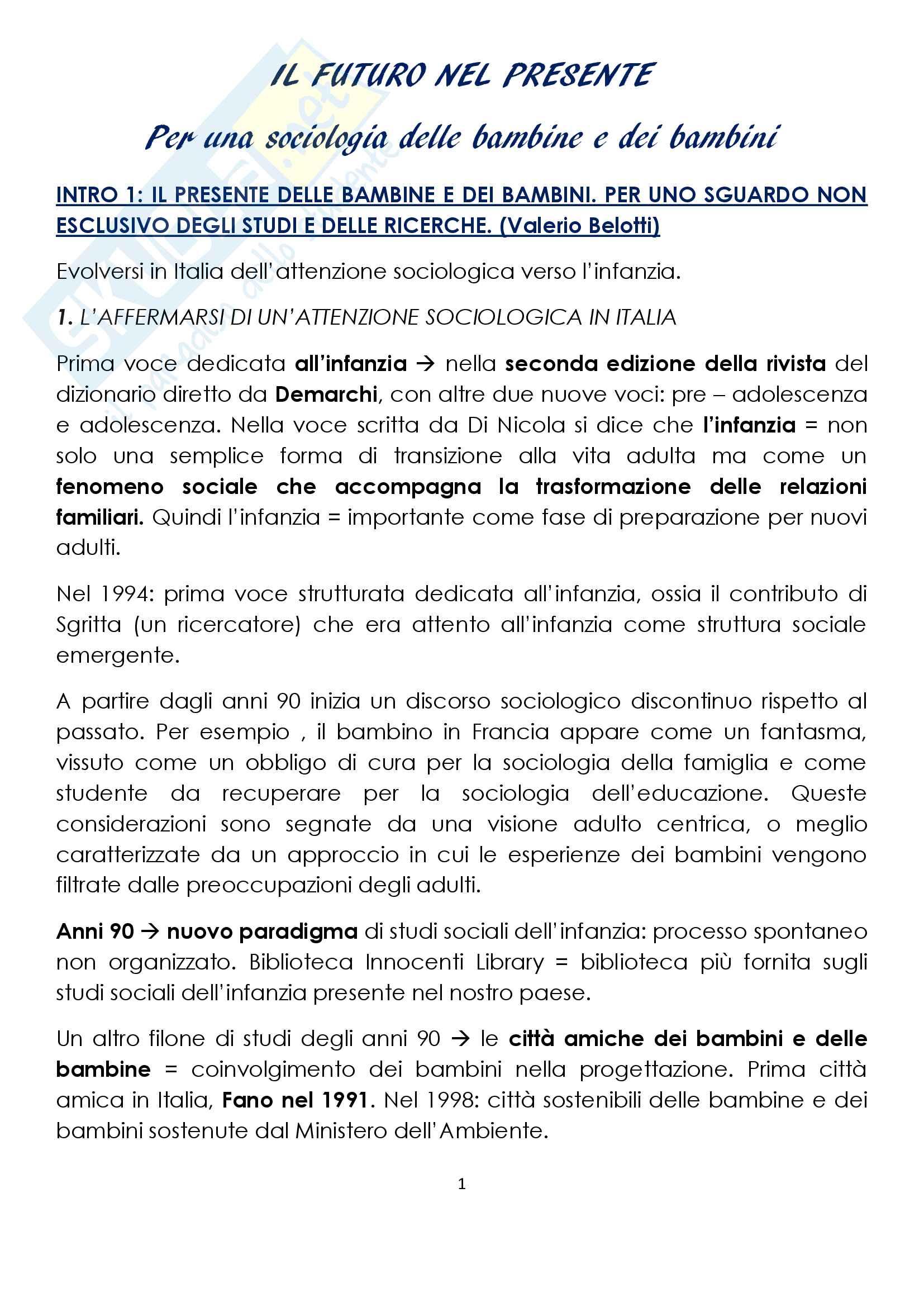 """Sunto di sociologia della famiglia, docente Diego Mesa, libro consigliato """"il futuro nel presente"""", Belotti, La Mendola"""