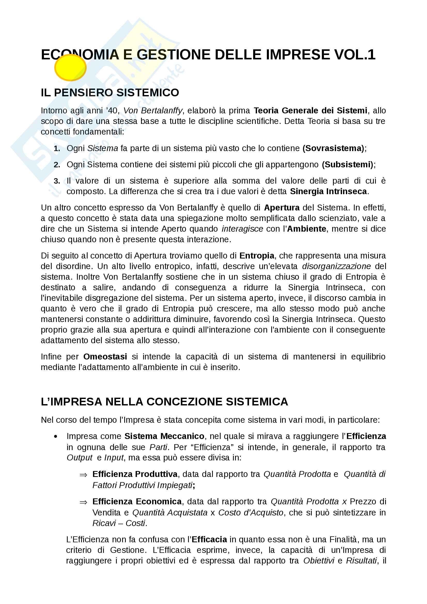 Appunti economia e gestione delle imprese parte 1, prof. gatti/vagnani