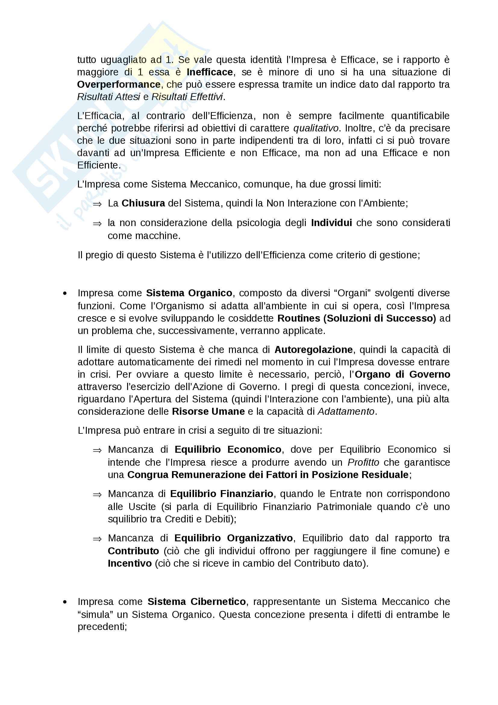 Appunti economia e gestione delle imprese parte 1, prof. gatti/vagnani Pag. 2