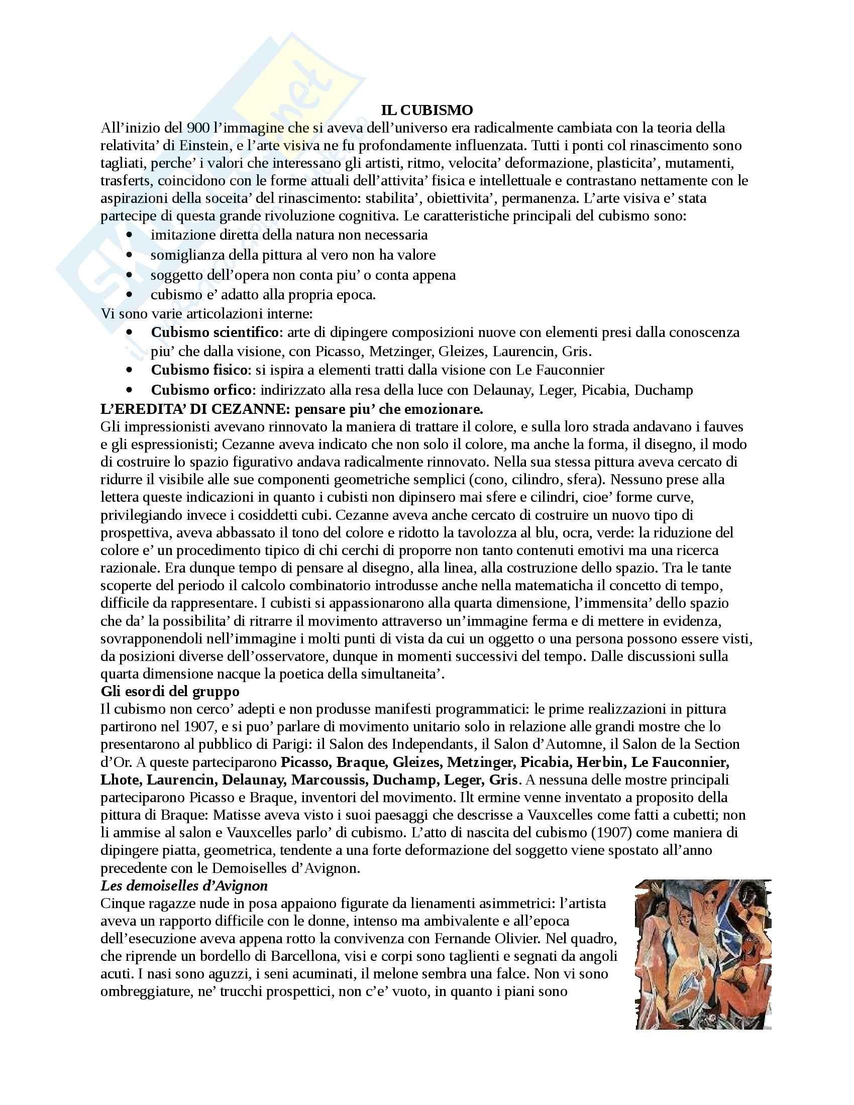 Riassunto esame Storia dell'Arte Contemporanea, prof. De Vivo, libro consigliato Arti Visive: il Novecento Protagonisti e Movimenti, Dorfless