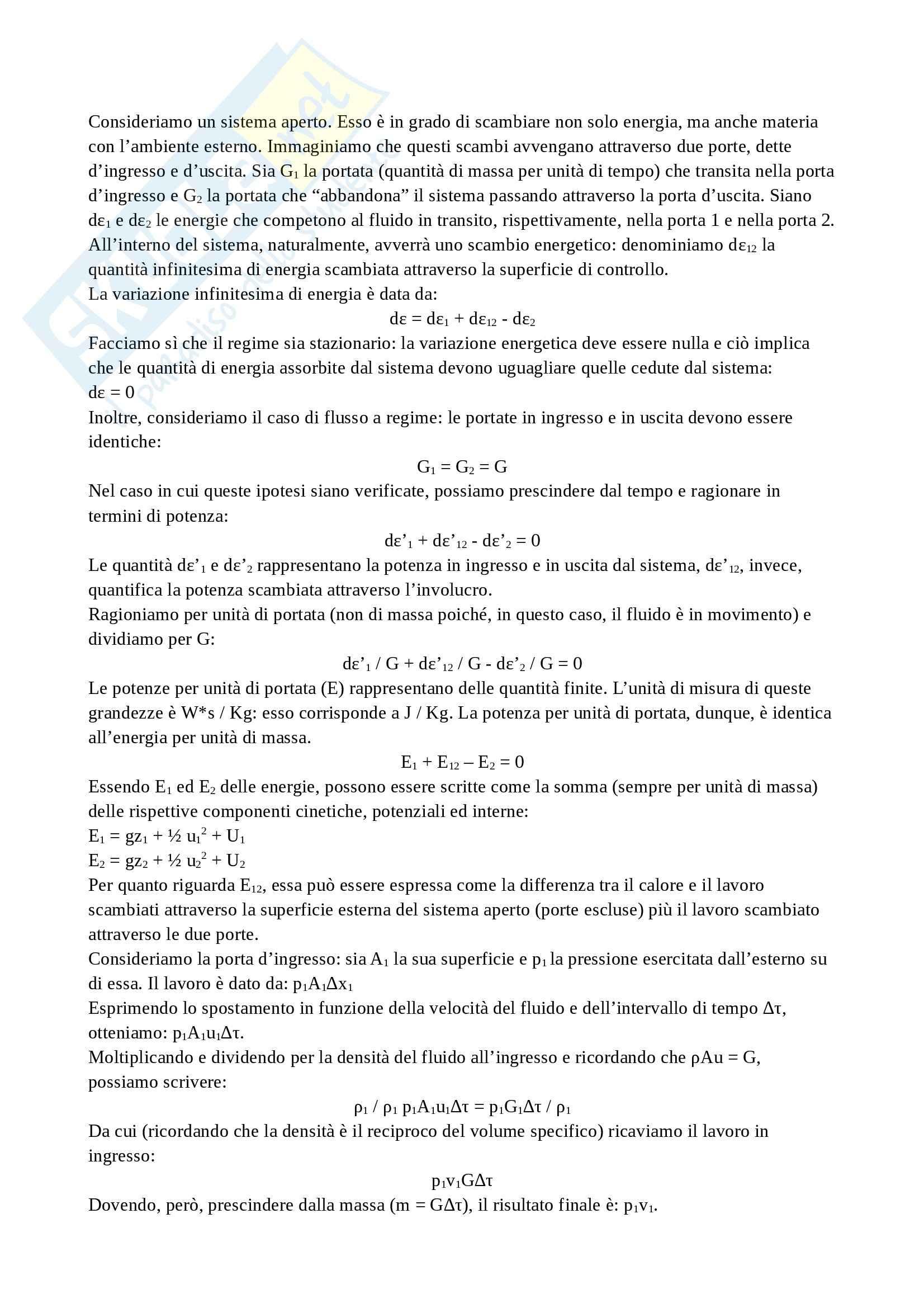 Termodinamica - Conservazione energia sistema aperto