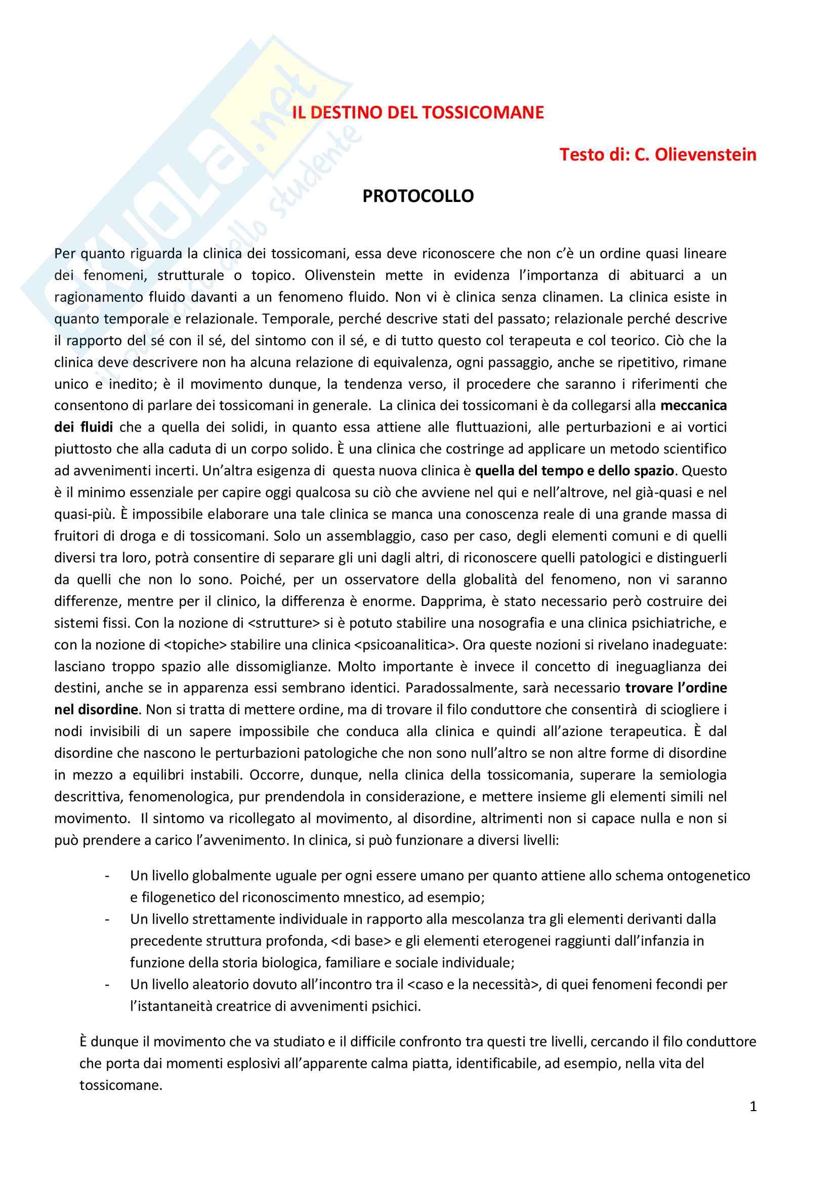 Riassunto esame Dipendenze patologiche, prof. Di Blasi, libro consigliato Il destino del tossicomane, C. Olievenstein