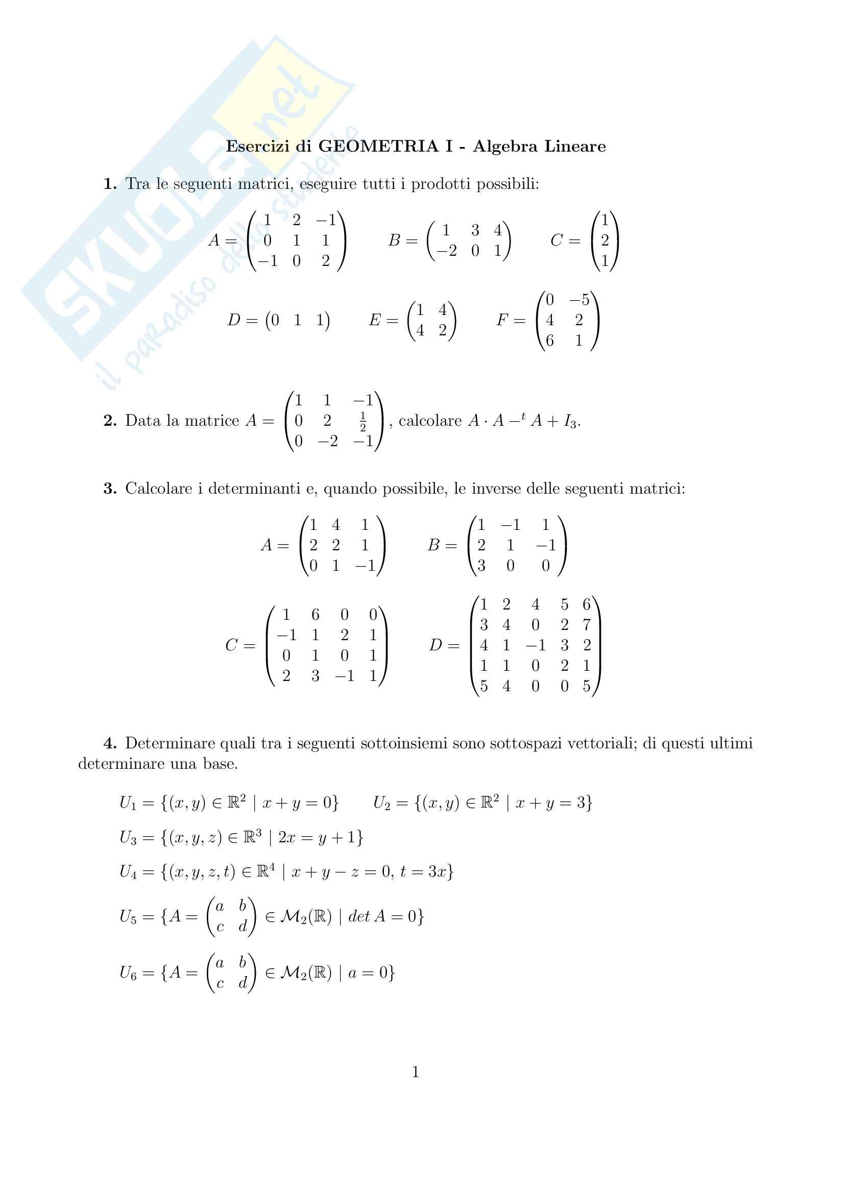 Geometria e Algebra - algebra lineare
