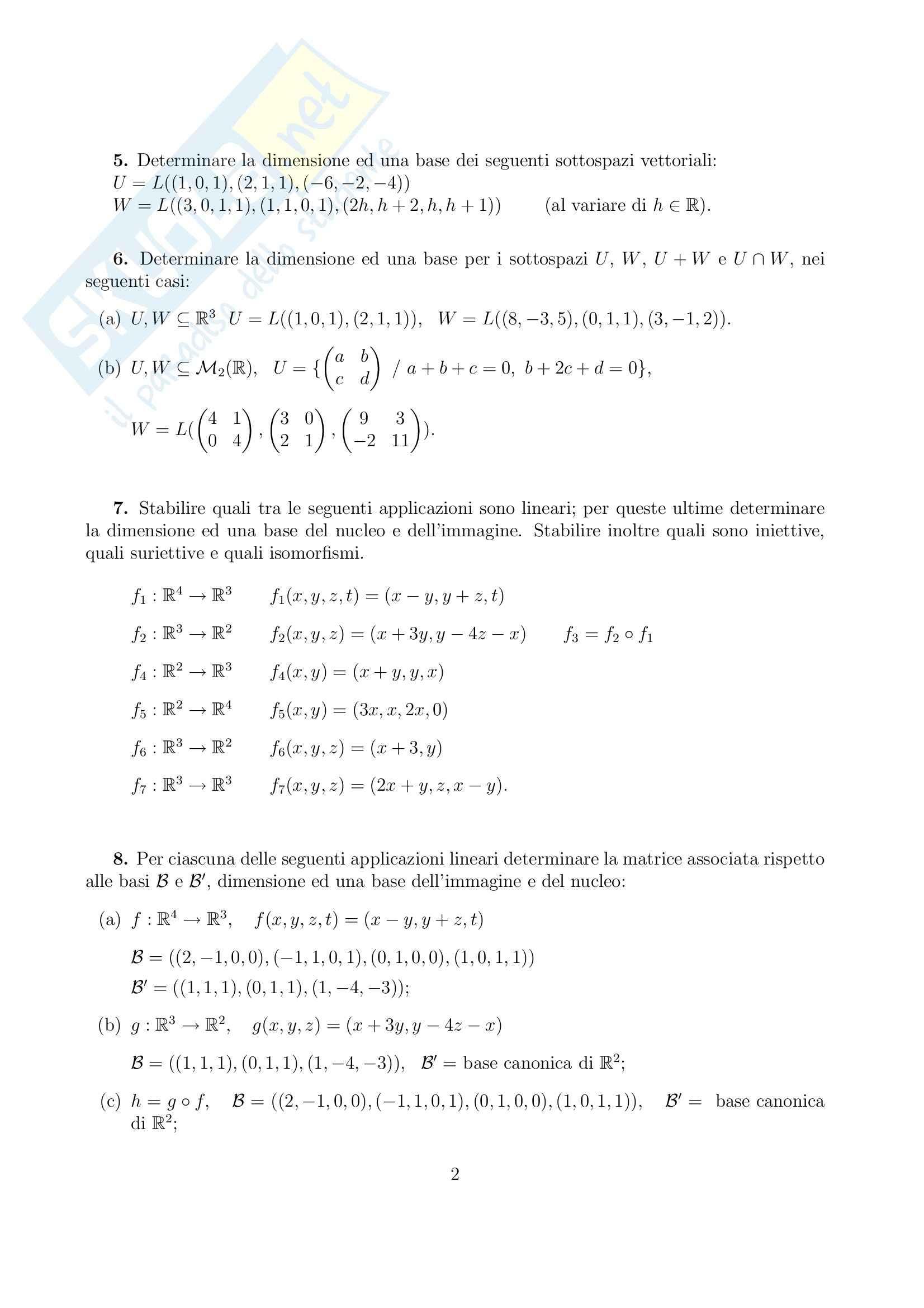 Geometria e Algebra - algebra lineare Pag. 2