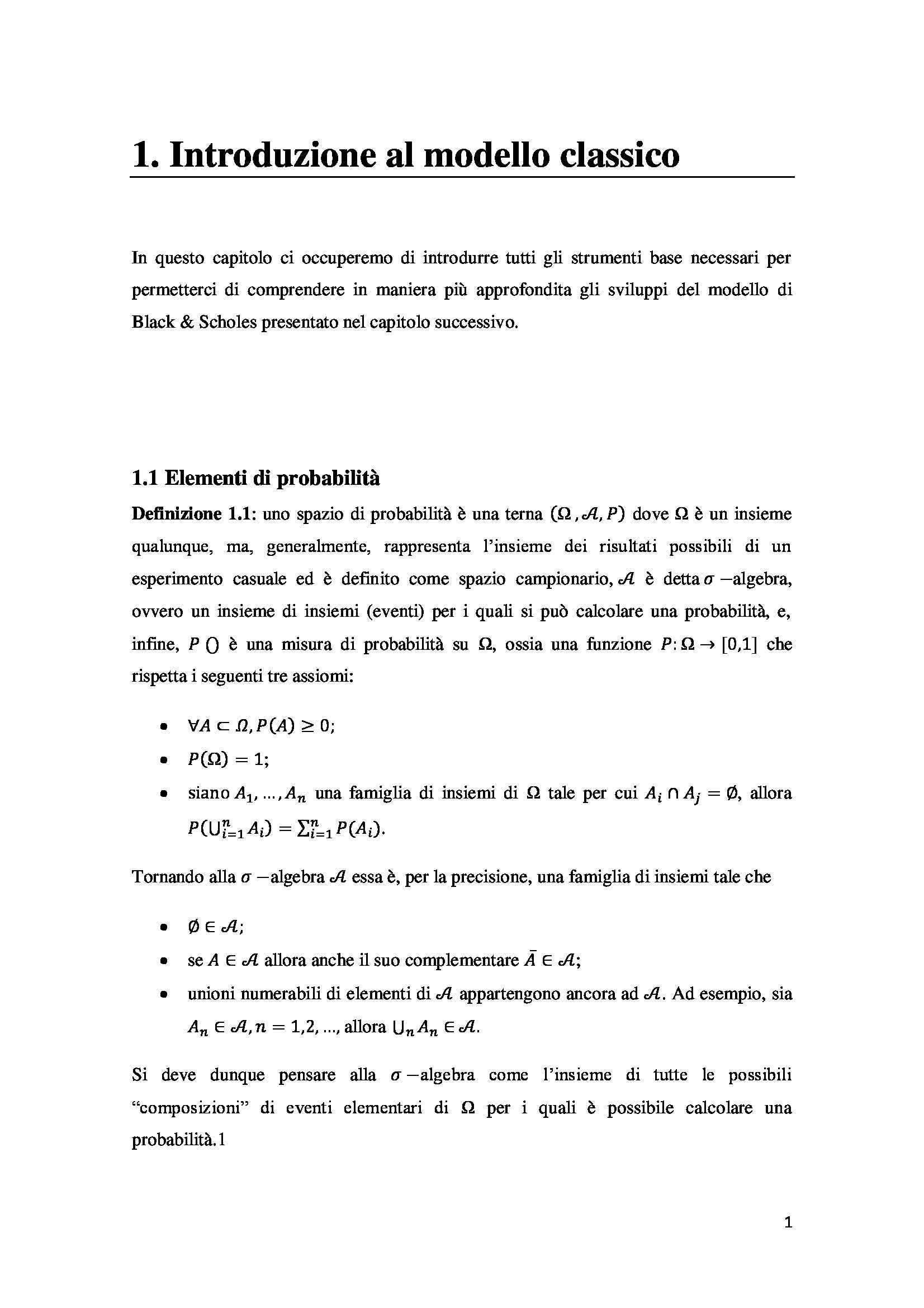 Tesi - Opzioni - metodi prezzatura Pag. 11